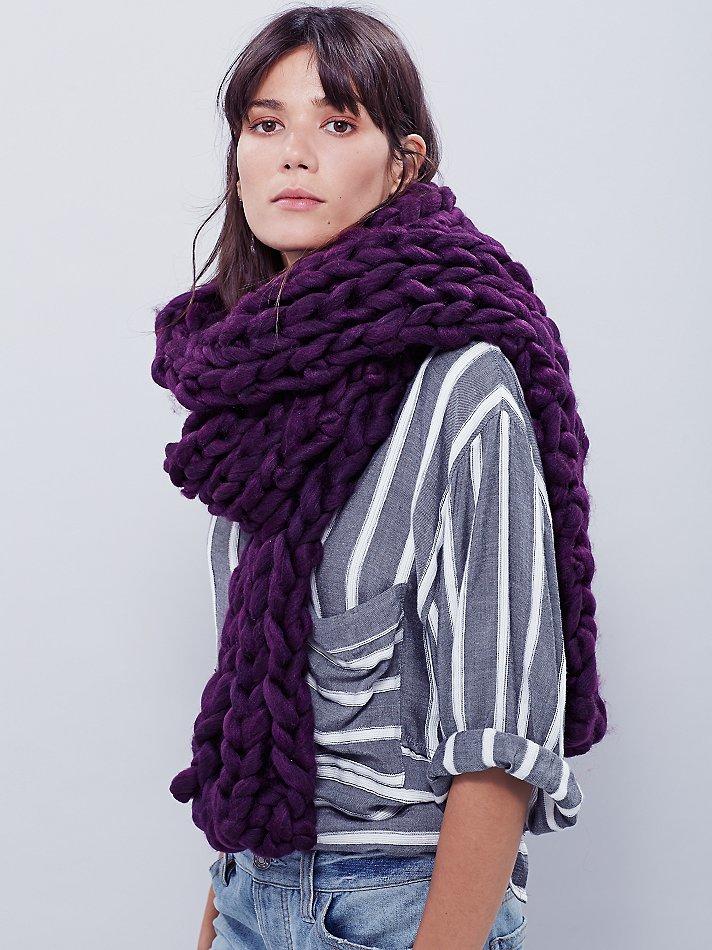 Free People Womens Maggie Maye Chunky Knit Scarf In Purple