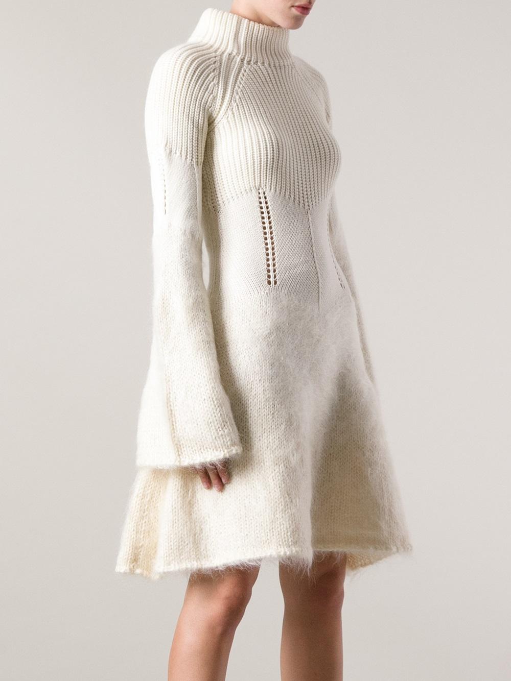 Mcq Degrade Mohair Dress In White Lyst