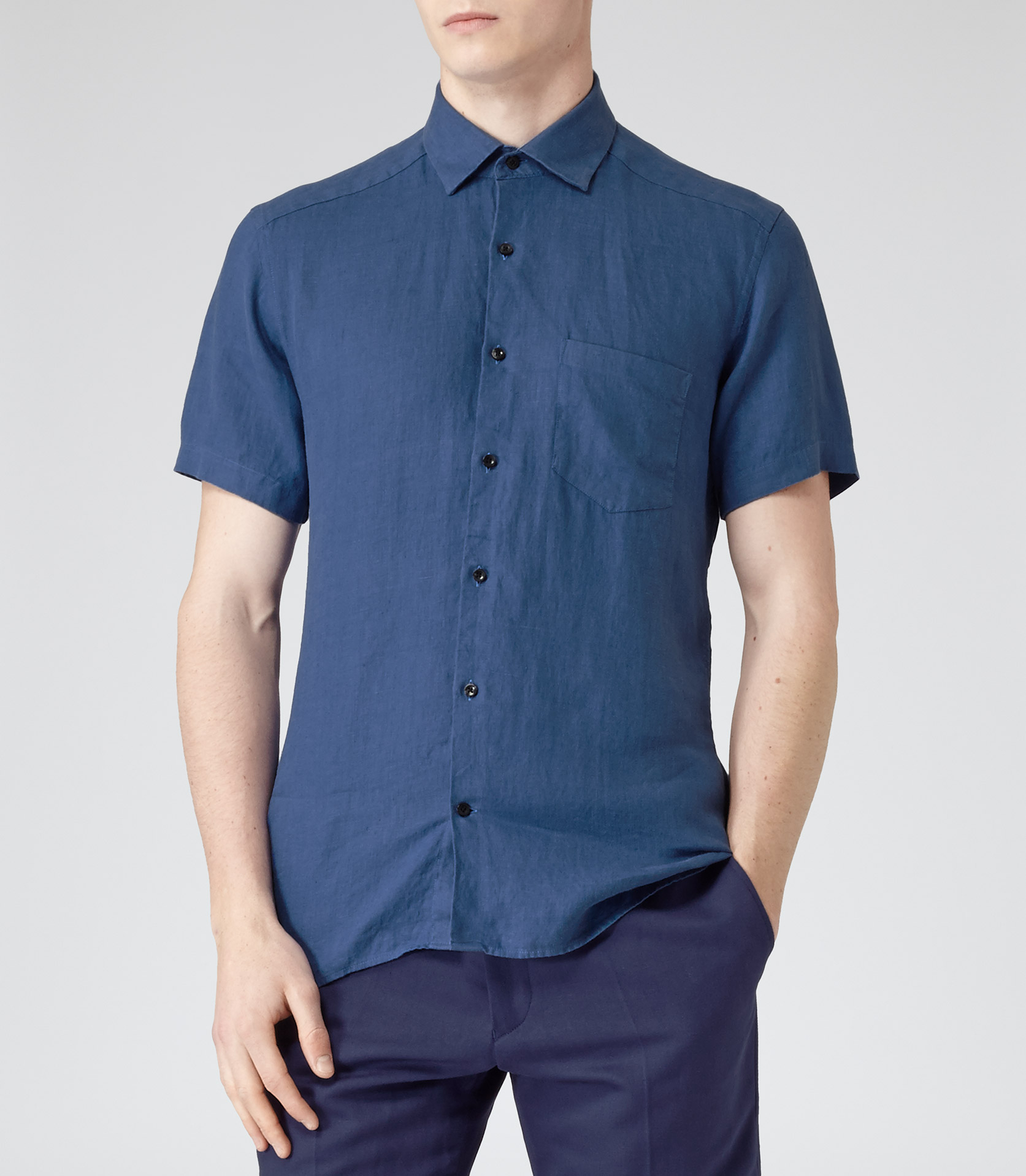 reiss drone linen short sleeve shirt in blue for men lyst