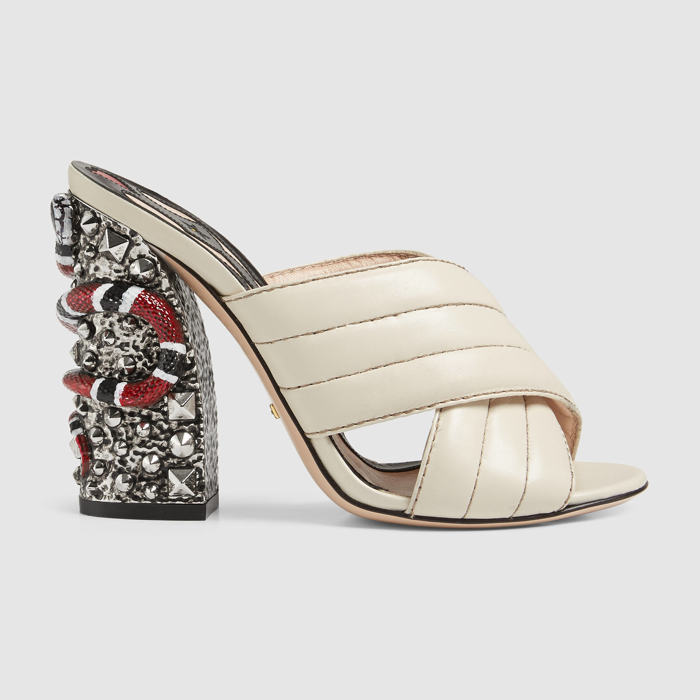 911c7bb8f3f Lyst - Gucci Romain Leather Crossover Sandal in White