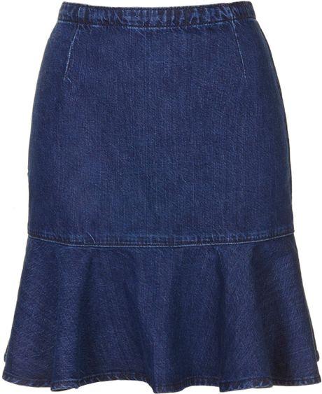 topshop moto ruffle denim skirt in blue indigo lyst