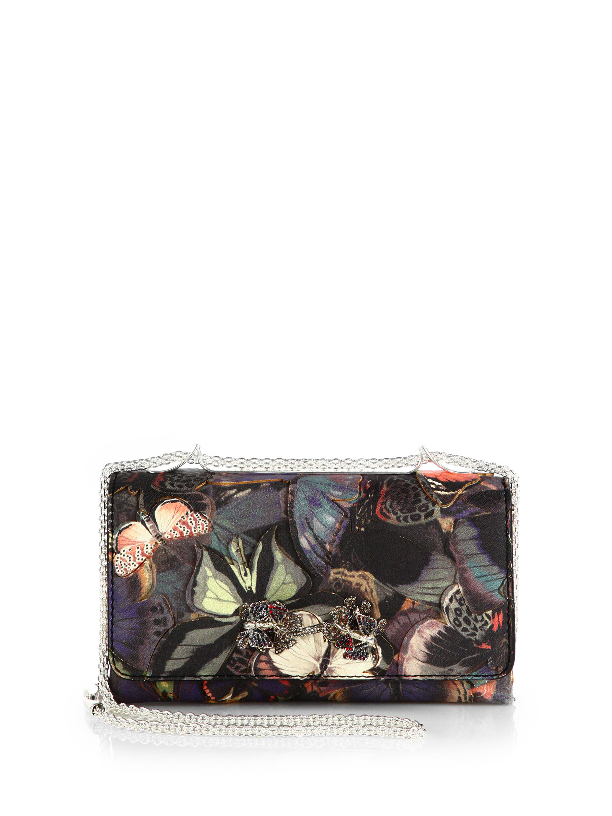 Valentino Jeweled Butterfly Leather Flap Bag in Multicolor | Lyst