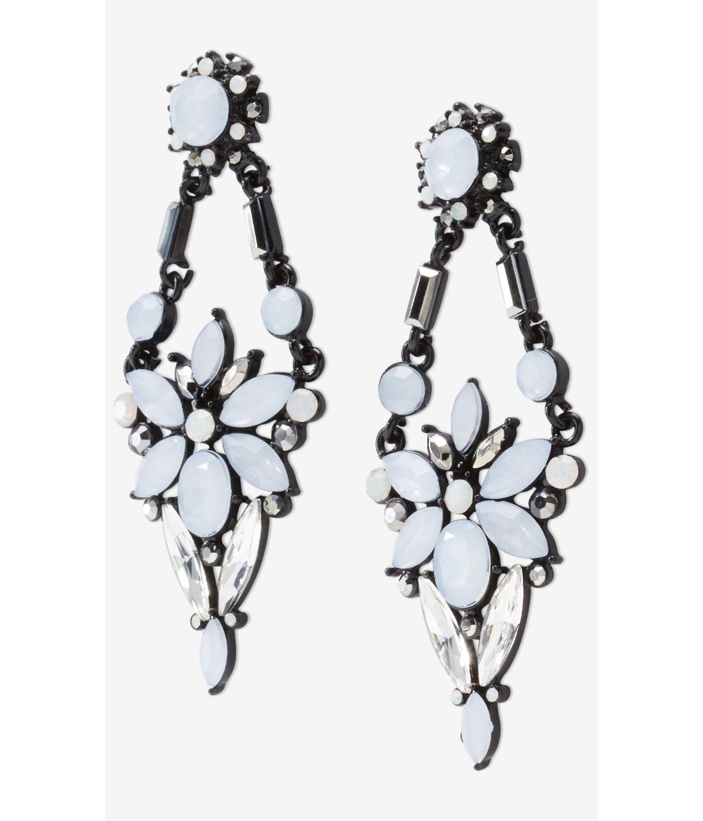 Lyst Express Mixed Rhinestone Chandelier Earrings In Black