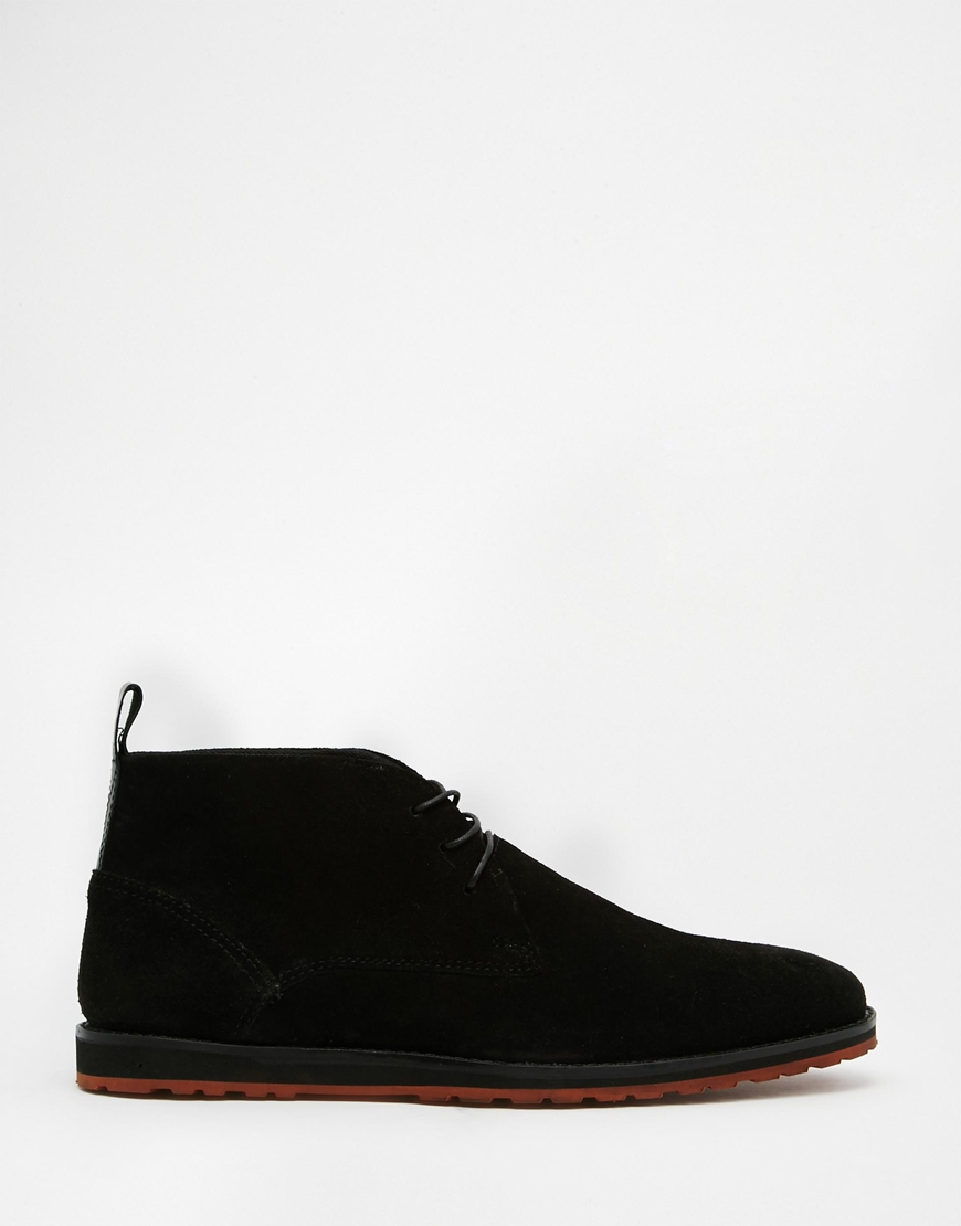 asos desert boots in black suede in black for lyst