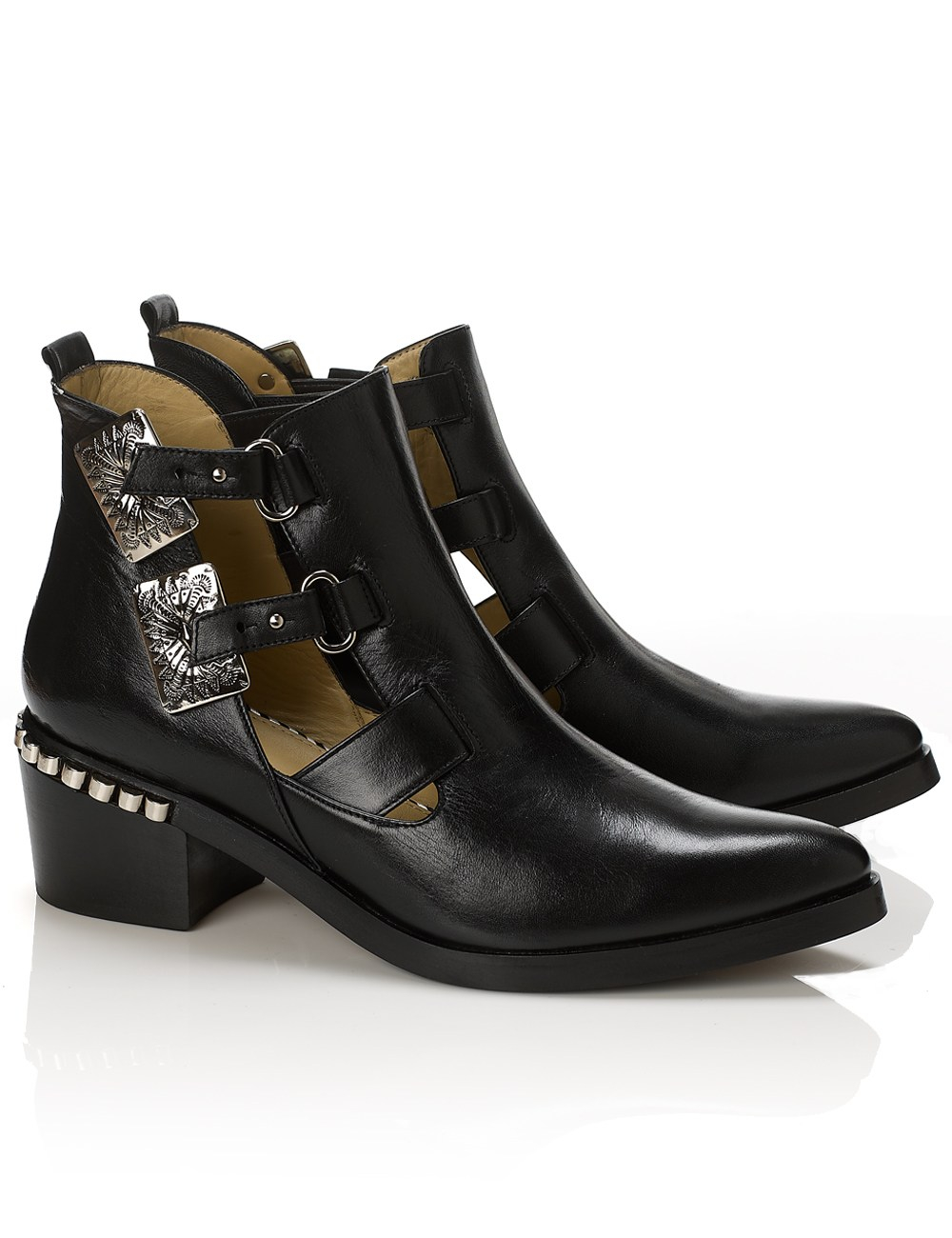 toga pulla cut out leather ankle boots in black lyst