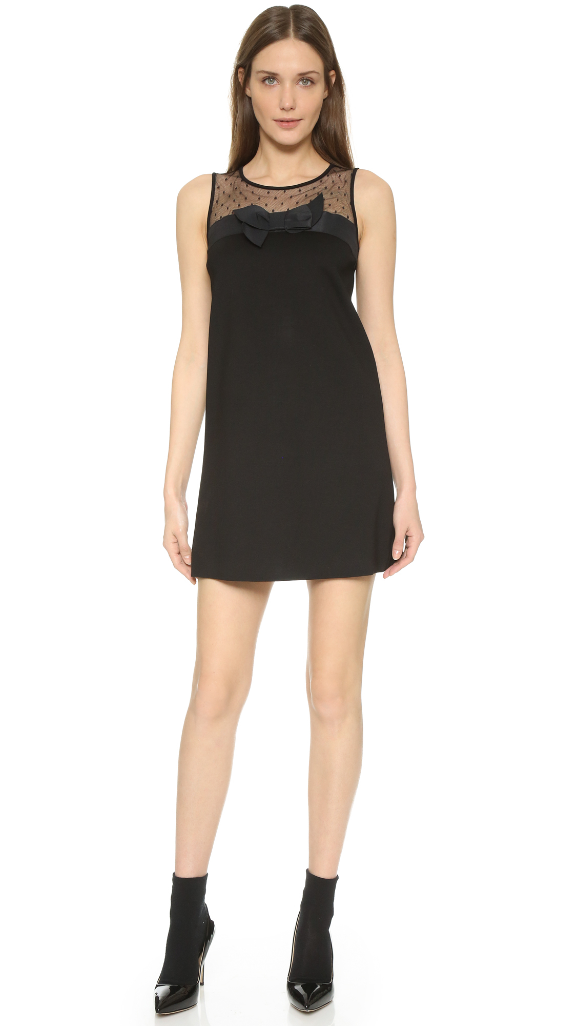 red valentino tank dress with bow detail in black lyst