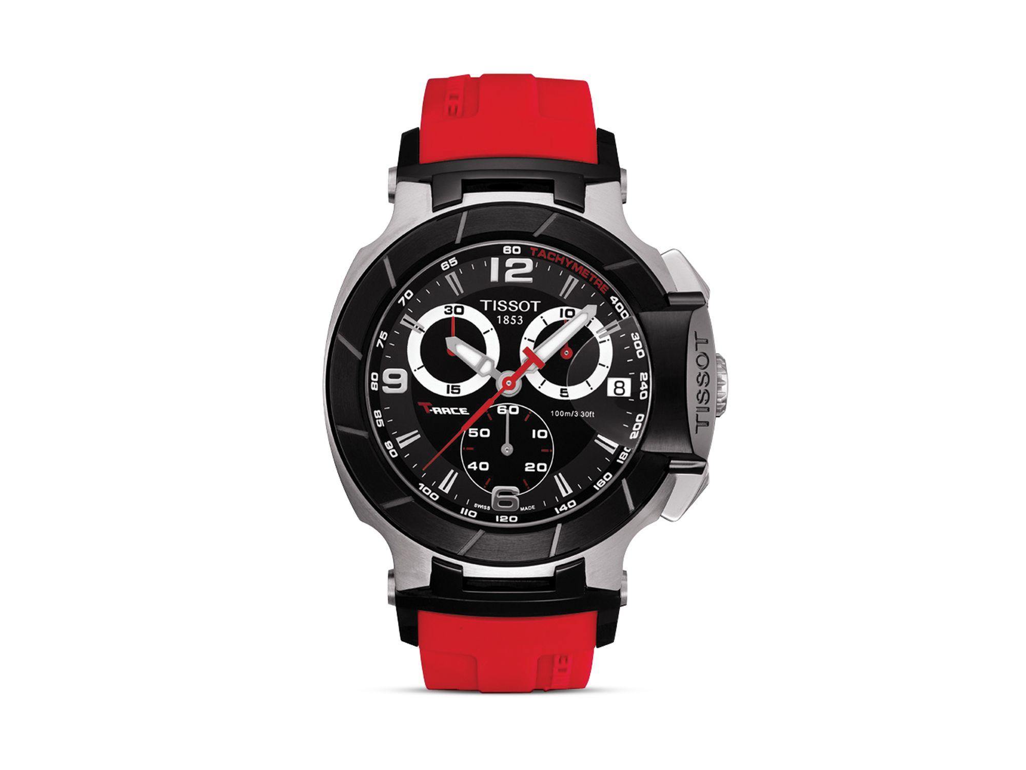 tissot t race men 39 s black quartz chronograph red rubber. Black Bedroom Furniture Sets. Home Design Ideas