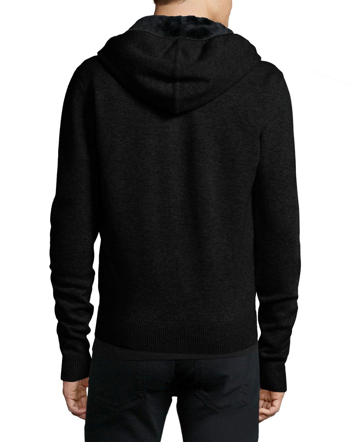 Yves Salomon Fur-Lined Woolcashmere Zip-Front Knit Hoodie -5679