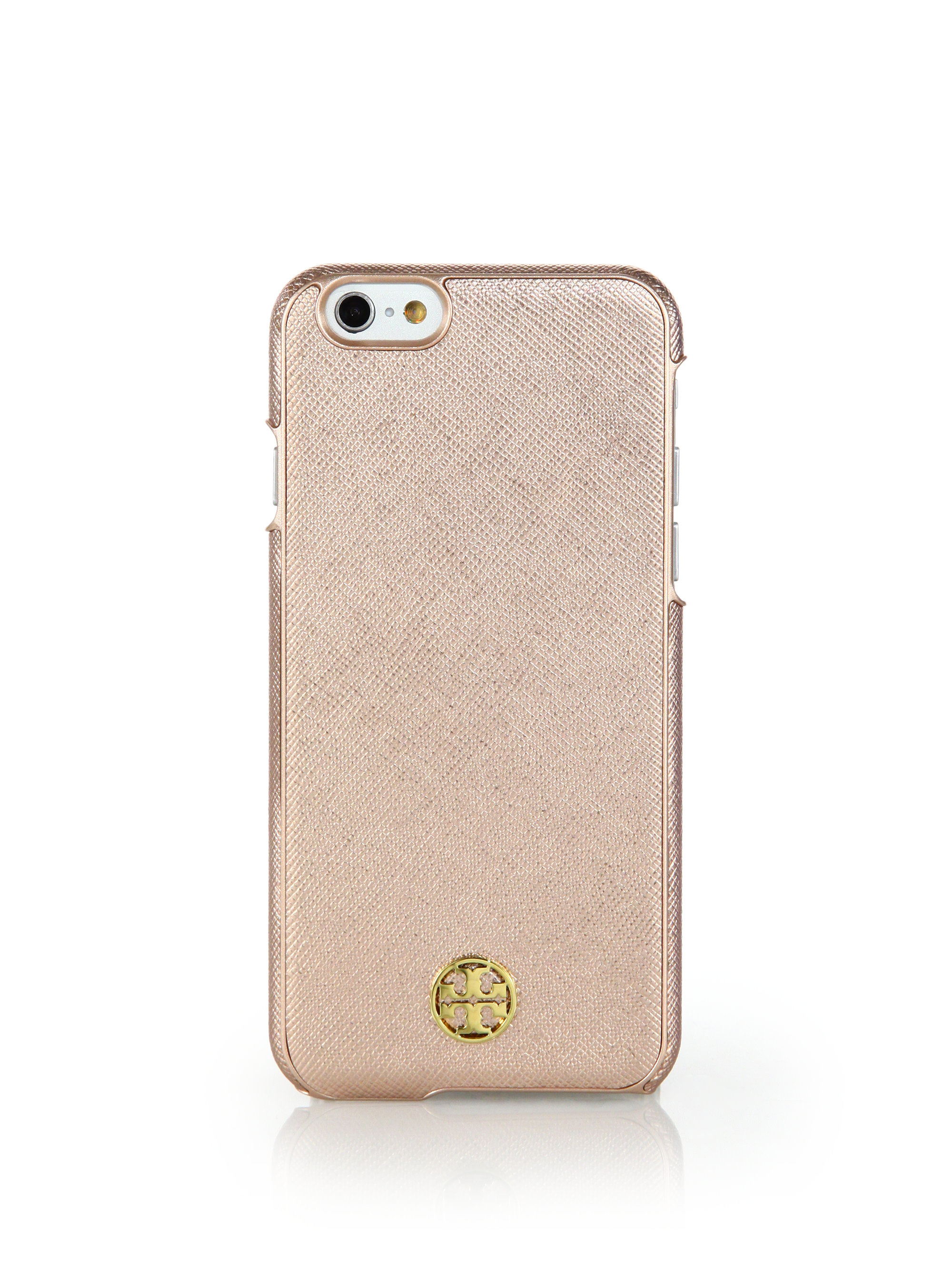 new concept f289a 09046 Tory Burch Robinson Metallic Saffiano Leather Iphone Case