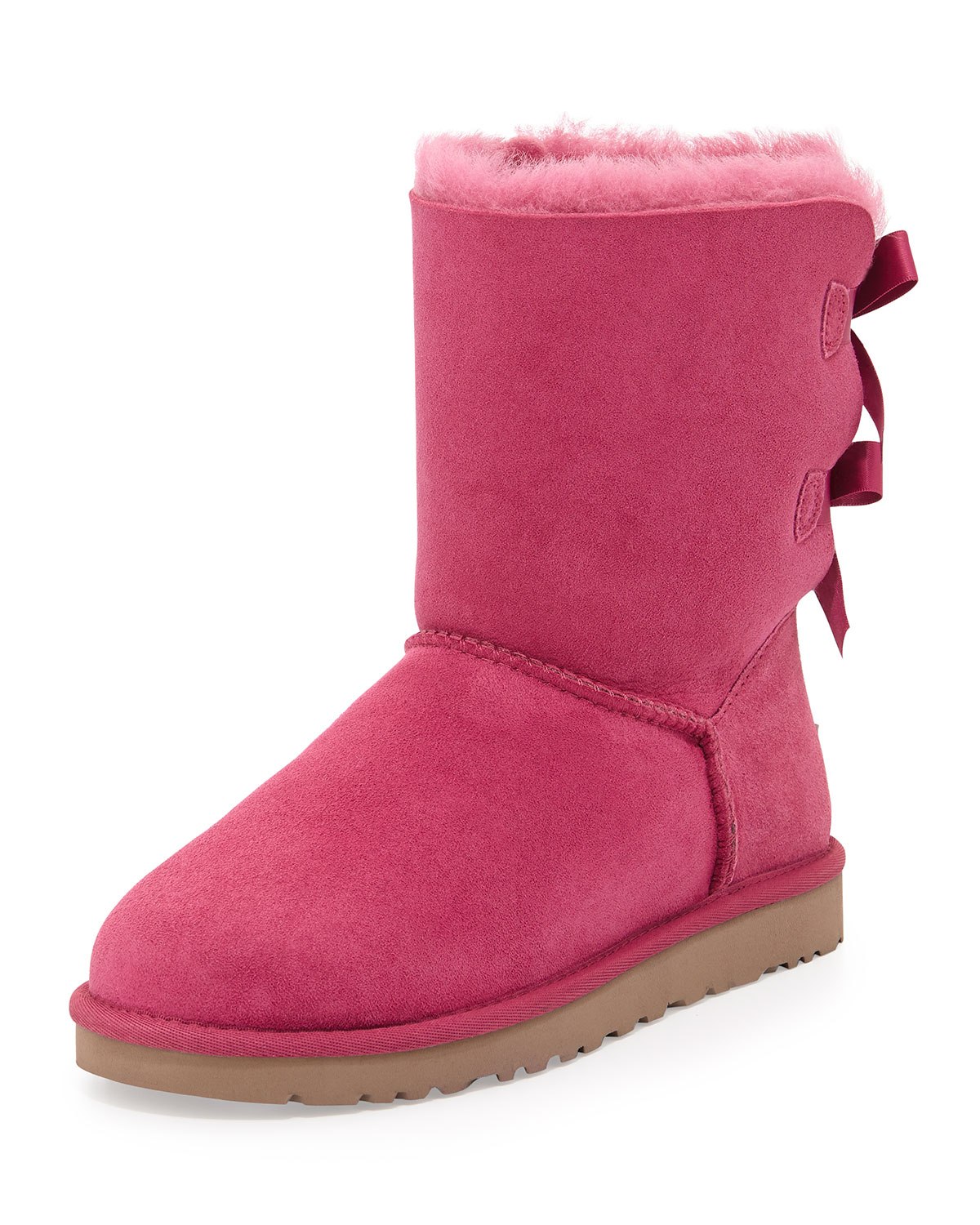 ugg bailey bow back short boot in pink victorian pink lyst. Black Bedroom Furniture Sets. Home Design Ideas