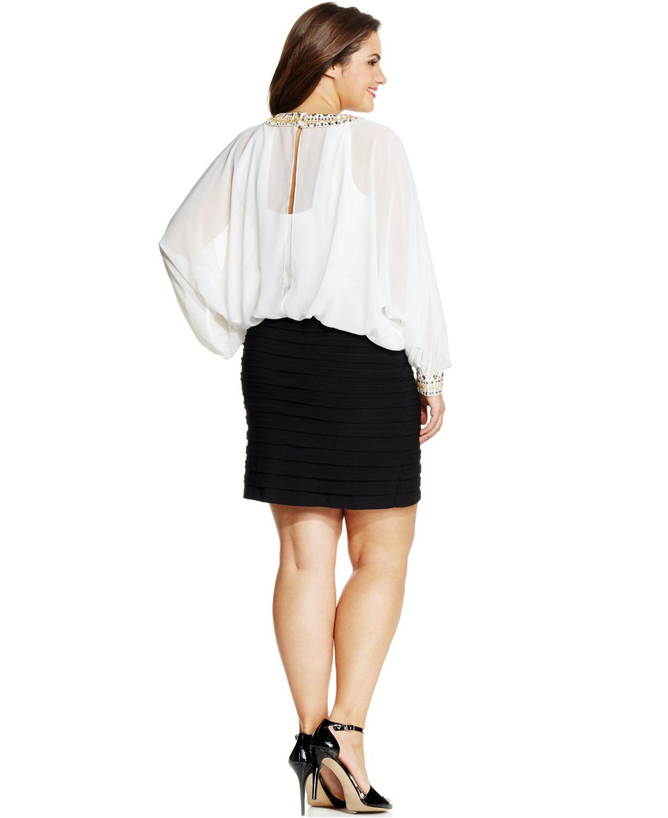 Xscape Plus Size Colorblocked Cold-shoulder Blouson Dress in White ...