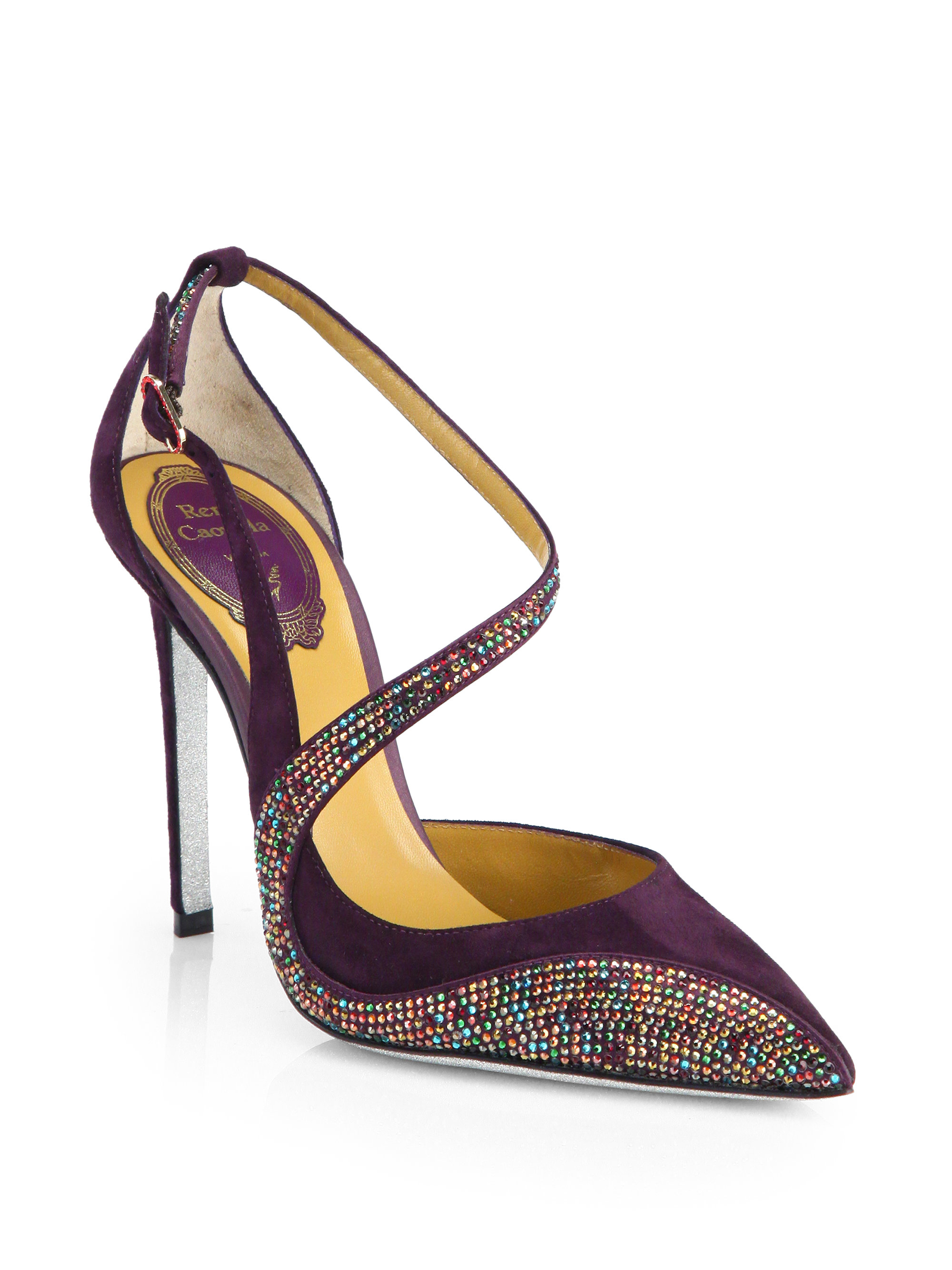 Rene Caovilla Swarovski Crystal & Suede Pumps in Purple