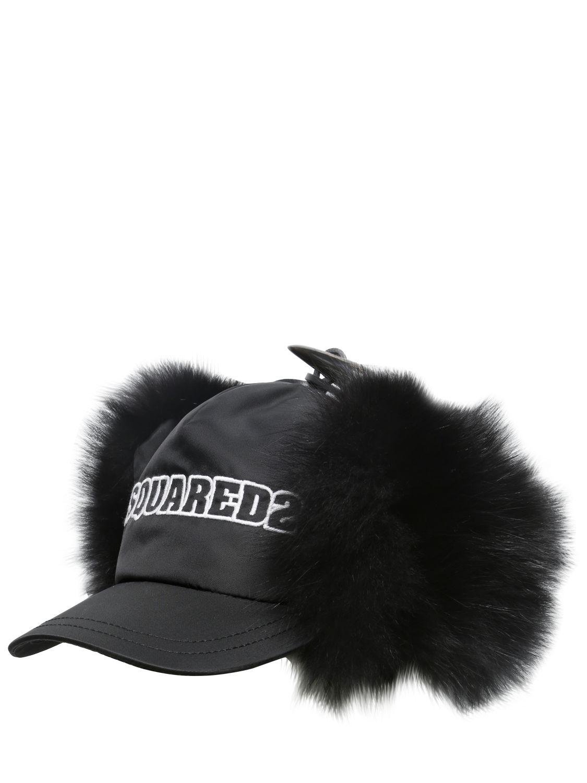 16483299f1d Lyst - DSquared² Fox Fur And Nylon Baseball Hat in Black for Men