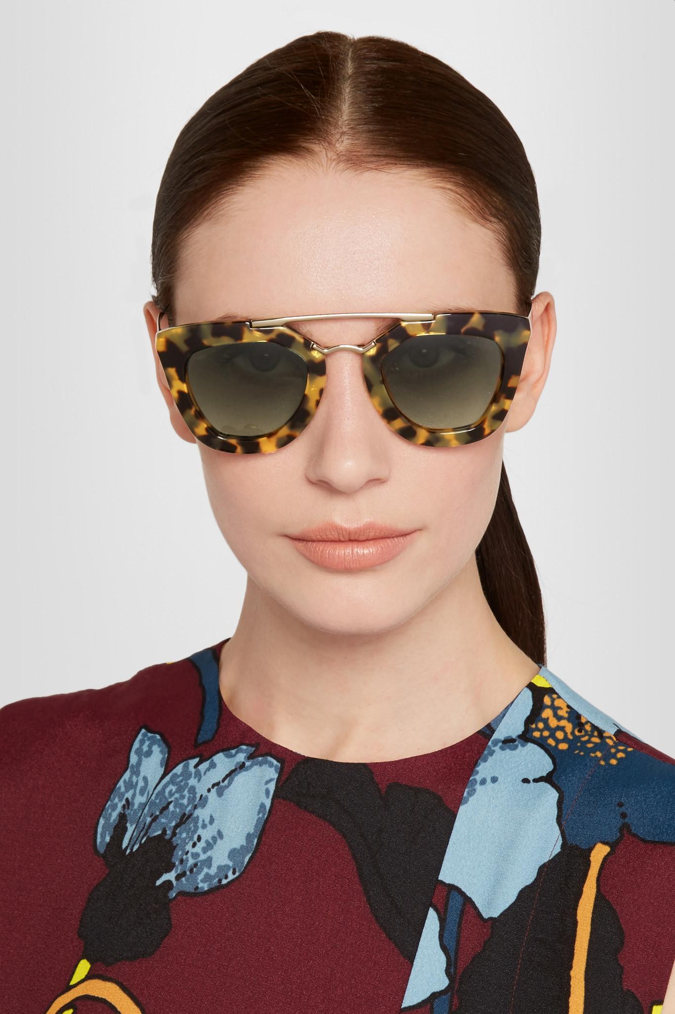 bf8b6fb043c order prada eyewear oversized round frame sunglasses 00673 474b8  hot prada  d frame acetate and gold tone sunglasses in brown lyst bf6e0 830de