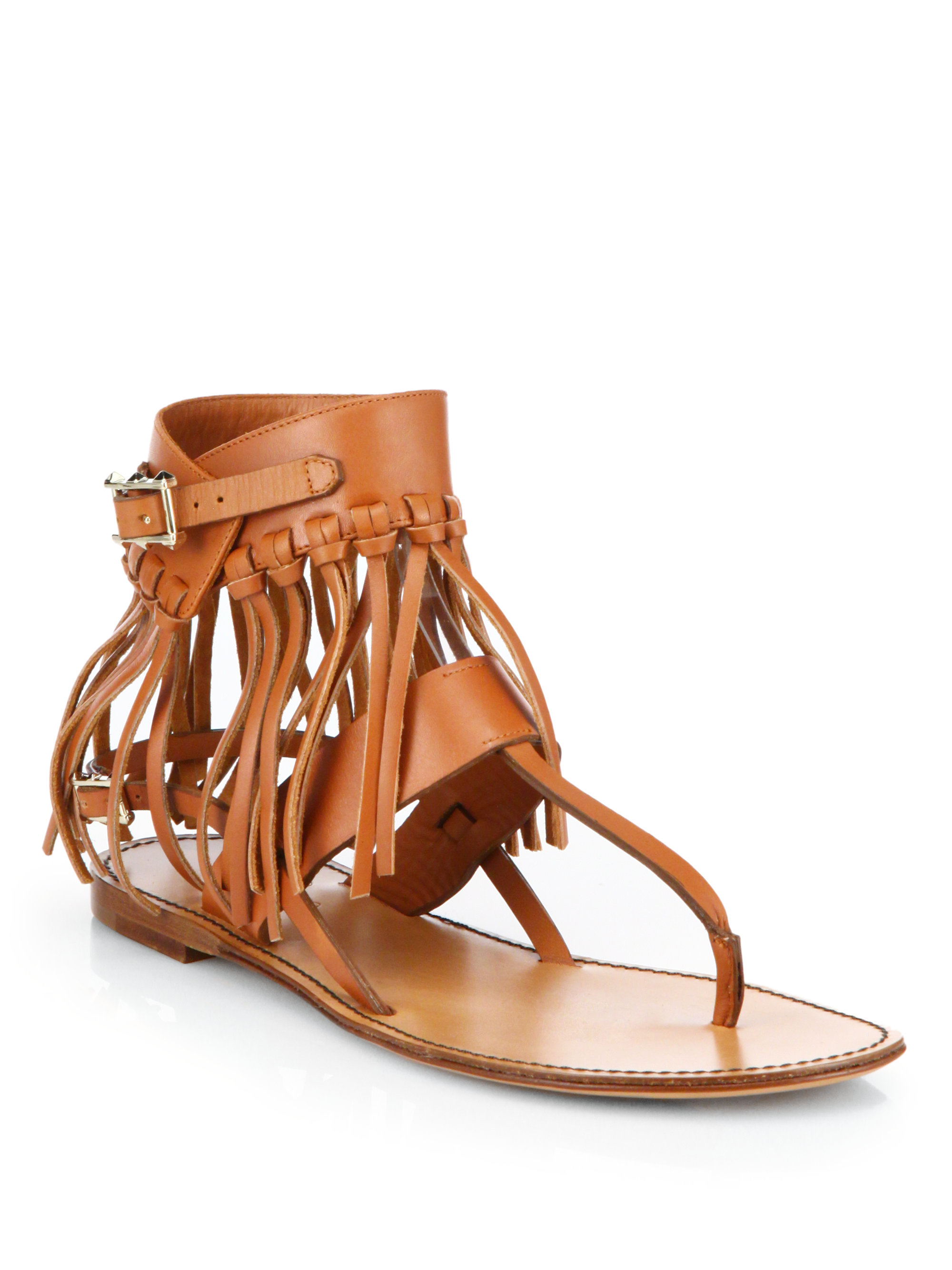 2315aab00e99 Lyst - Valentino C-Rockee Leather Fringe Thong Sandals in Brown