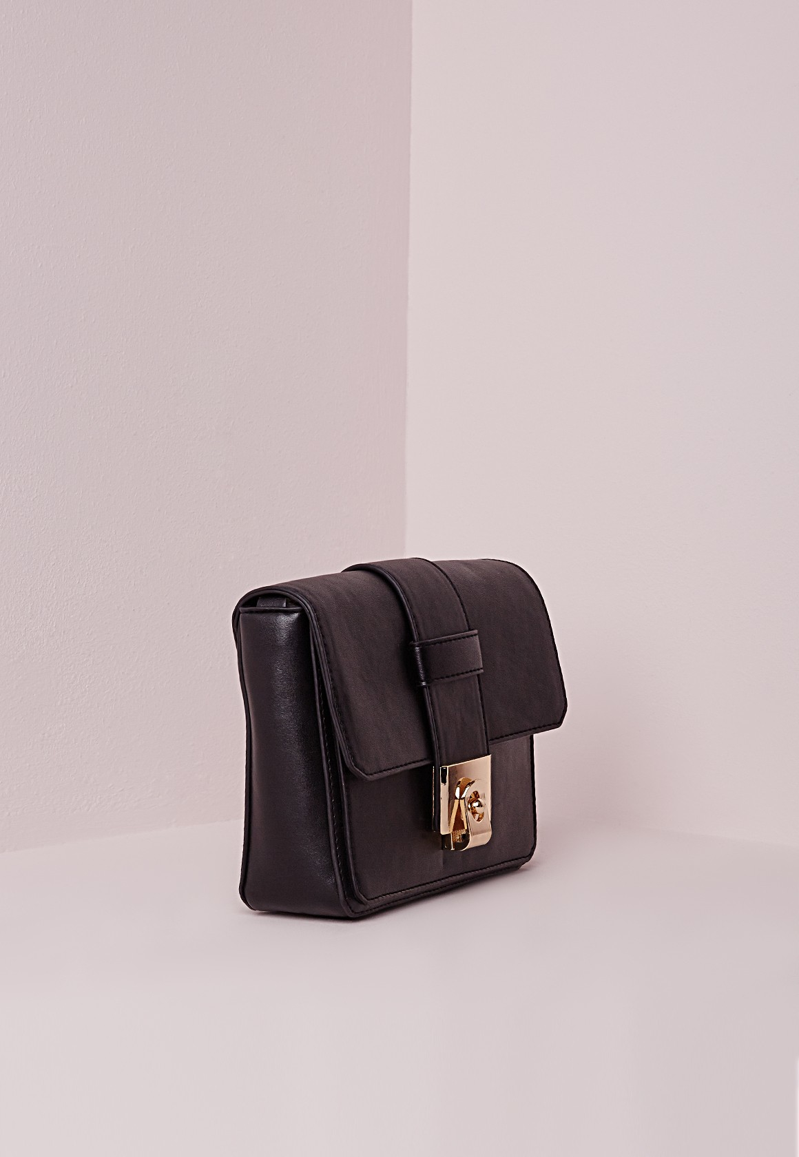 Missguided Mini Statement Buckle Crossbody Bag Black