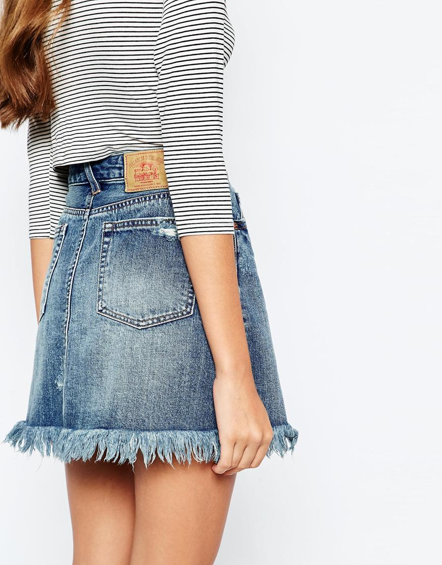 Pull&bear Frayed Hem Denim Mini Skirt in Blue | Lyst