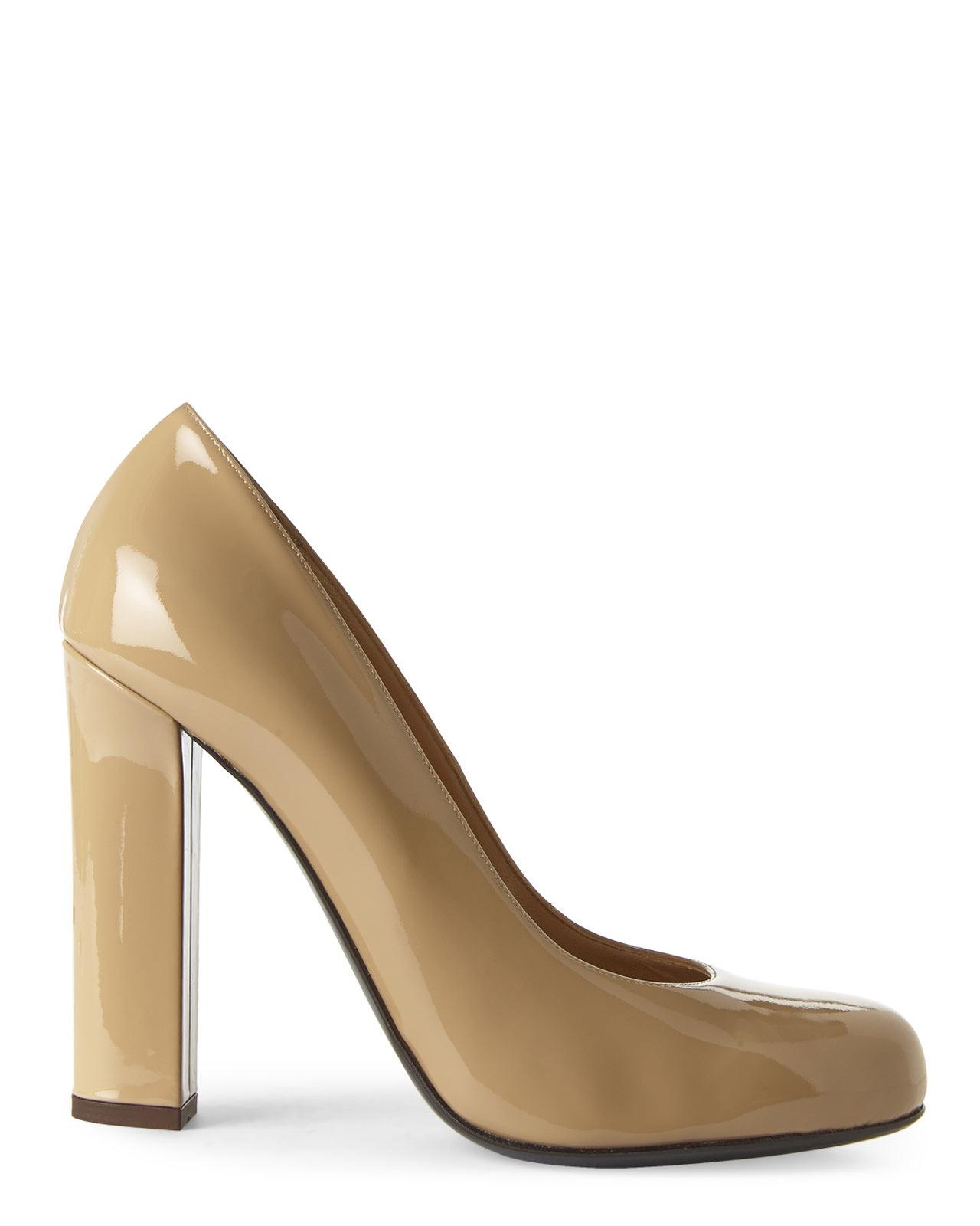Rodo Nude Block Heel Pumps in Natural | Lyst