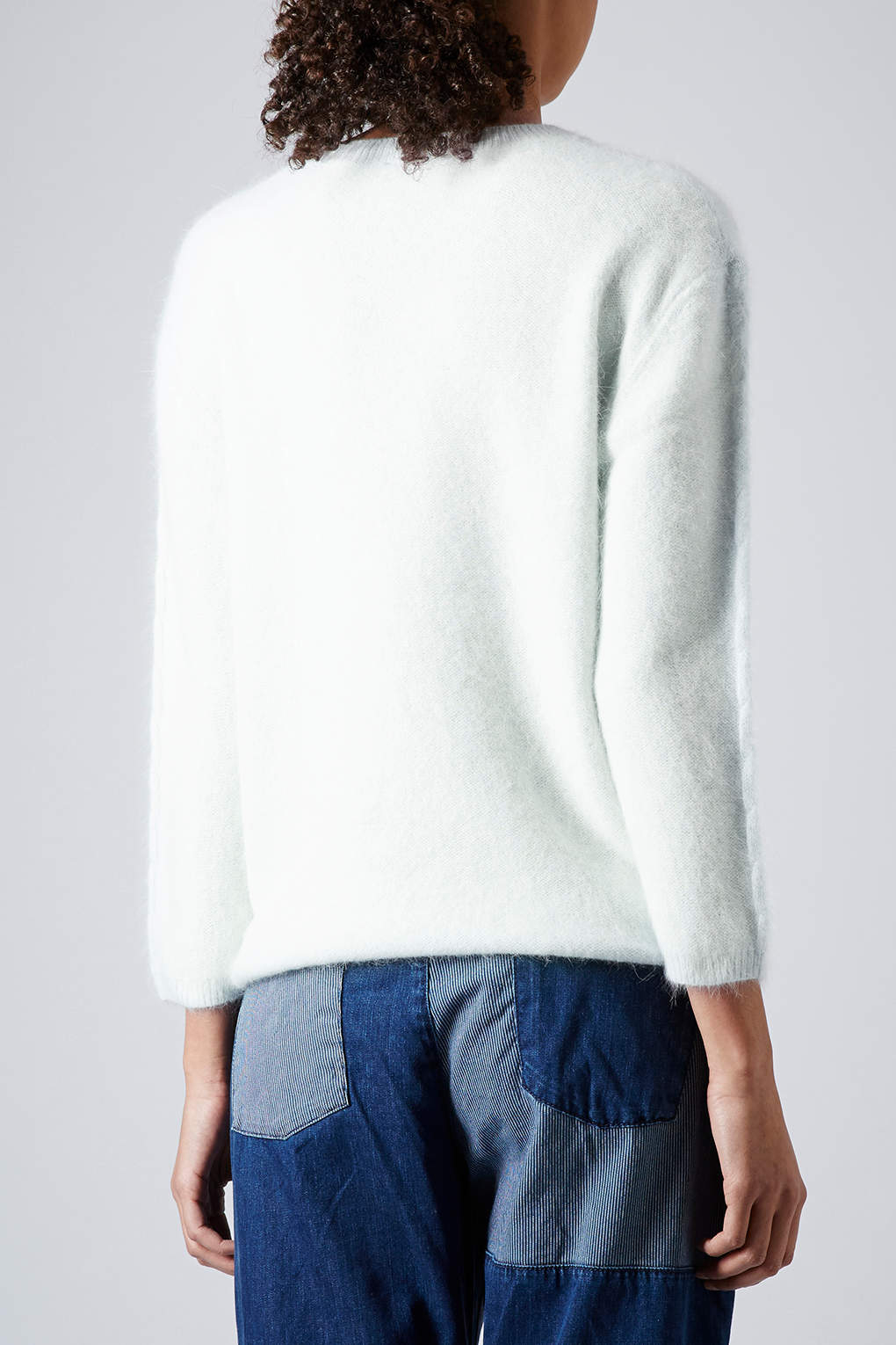 Lyst Topshop Fluffy Cable Knit Jumper In Green
