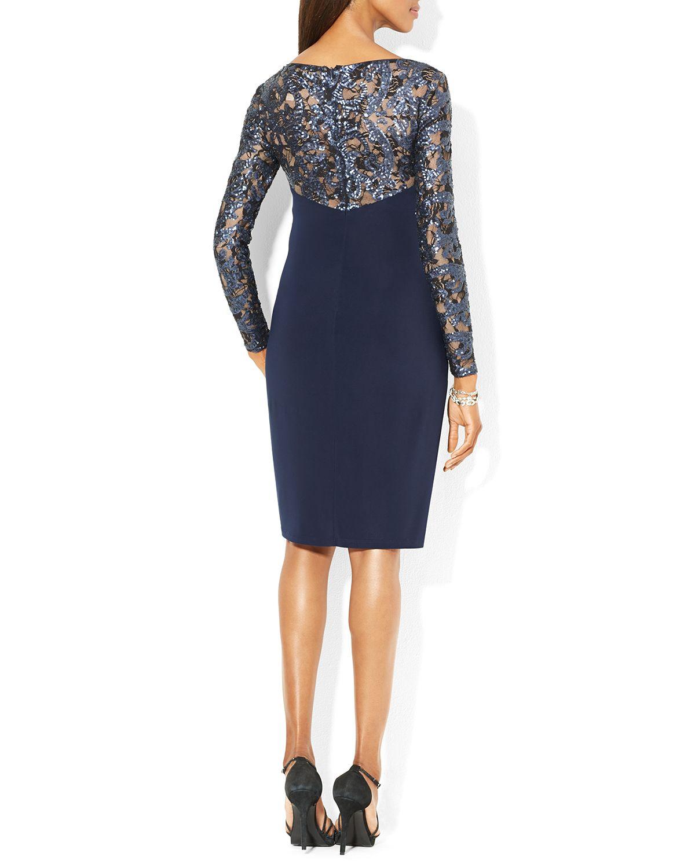 Ralph Lauren Lauren Dress Sequin Lace Jersey In Blue Lyst