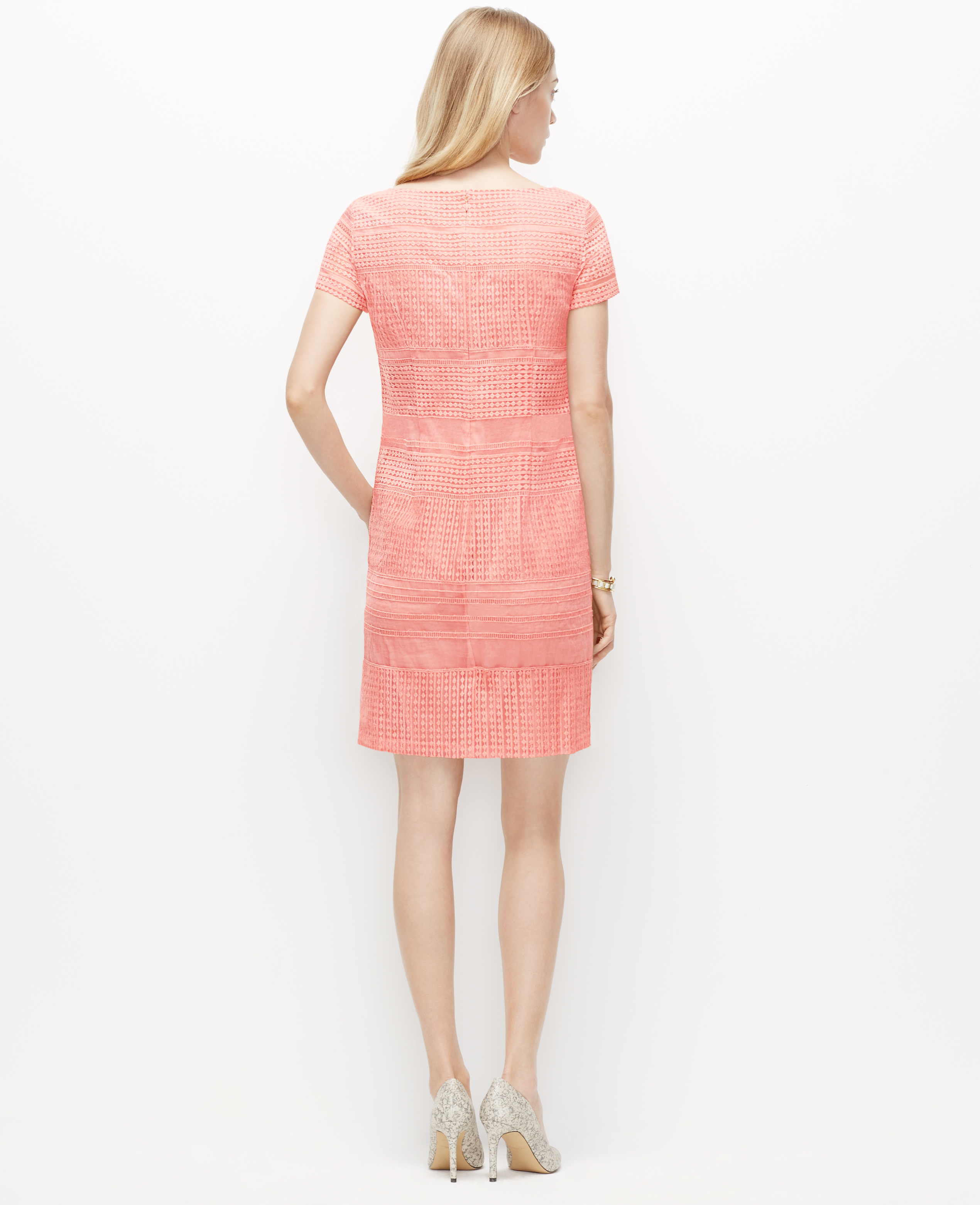 a49b5dde45 Ann Taylor Petite Organza Lace Shift Dress in Pink - Lyst
