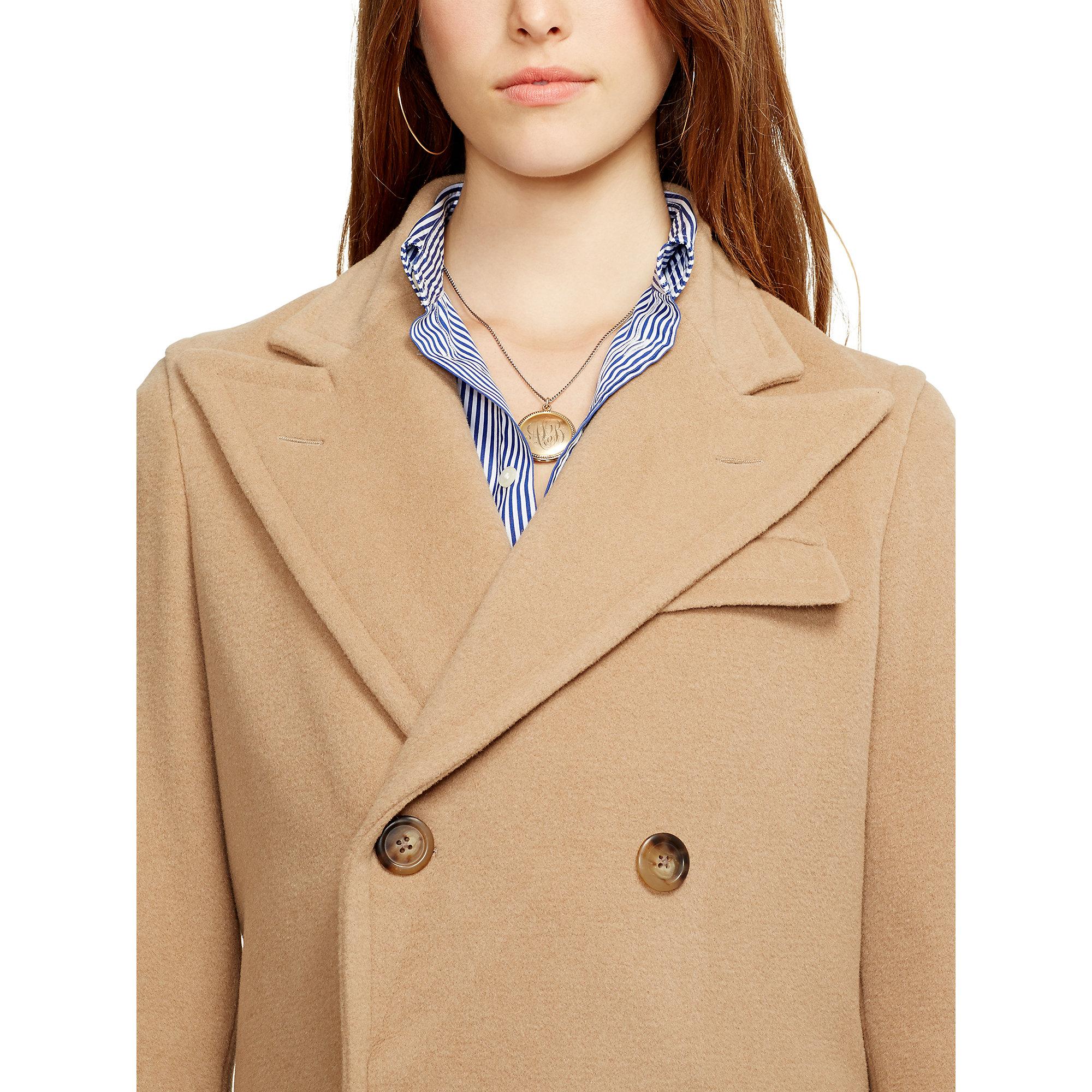 539953c10e29a Lyst - Polo Ralph Lauren Camel Hair Coat in Natural