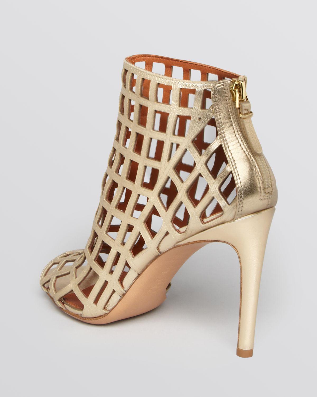 Via spiga Open Toe Caged Booties - Elenora High Heel in Metallic ...