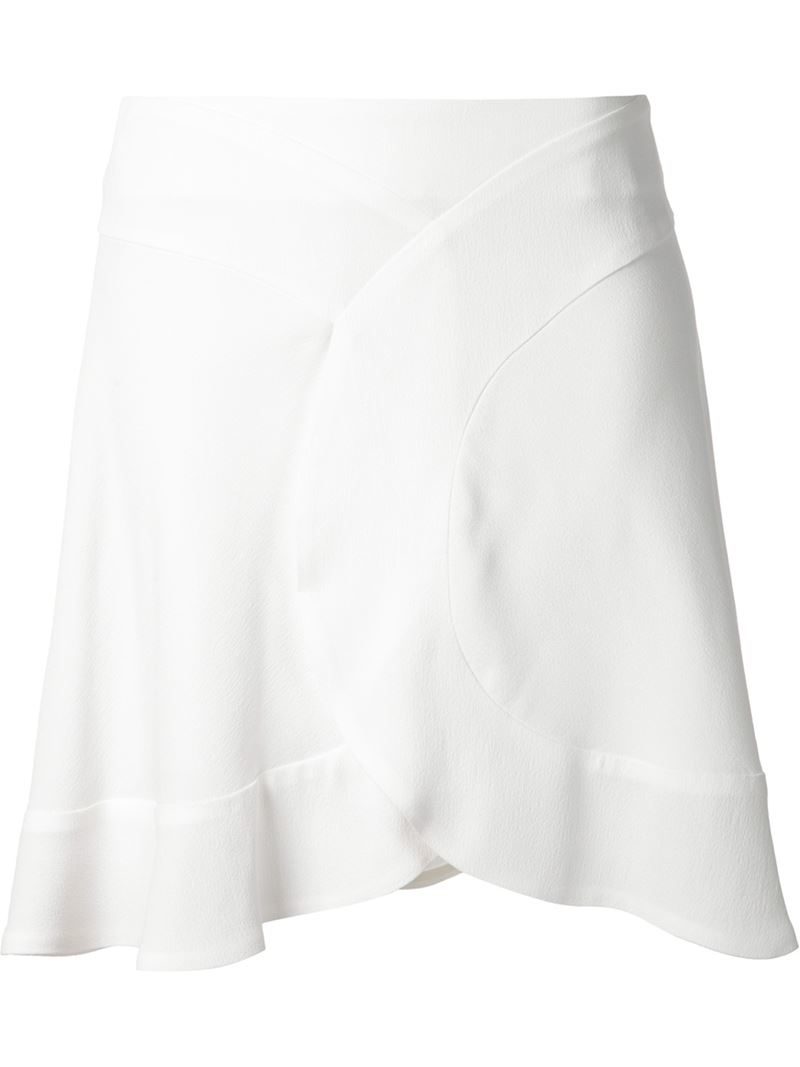 Chloé Short Skirt With A Ruffled Hem in White | Lyst