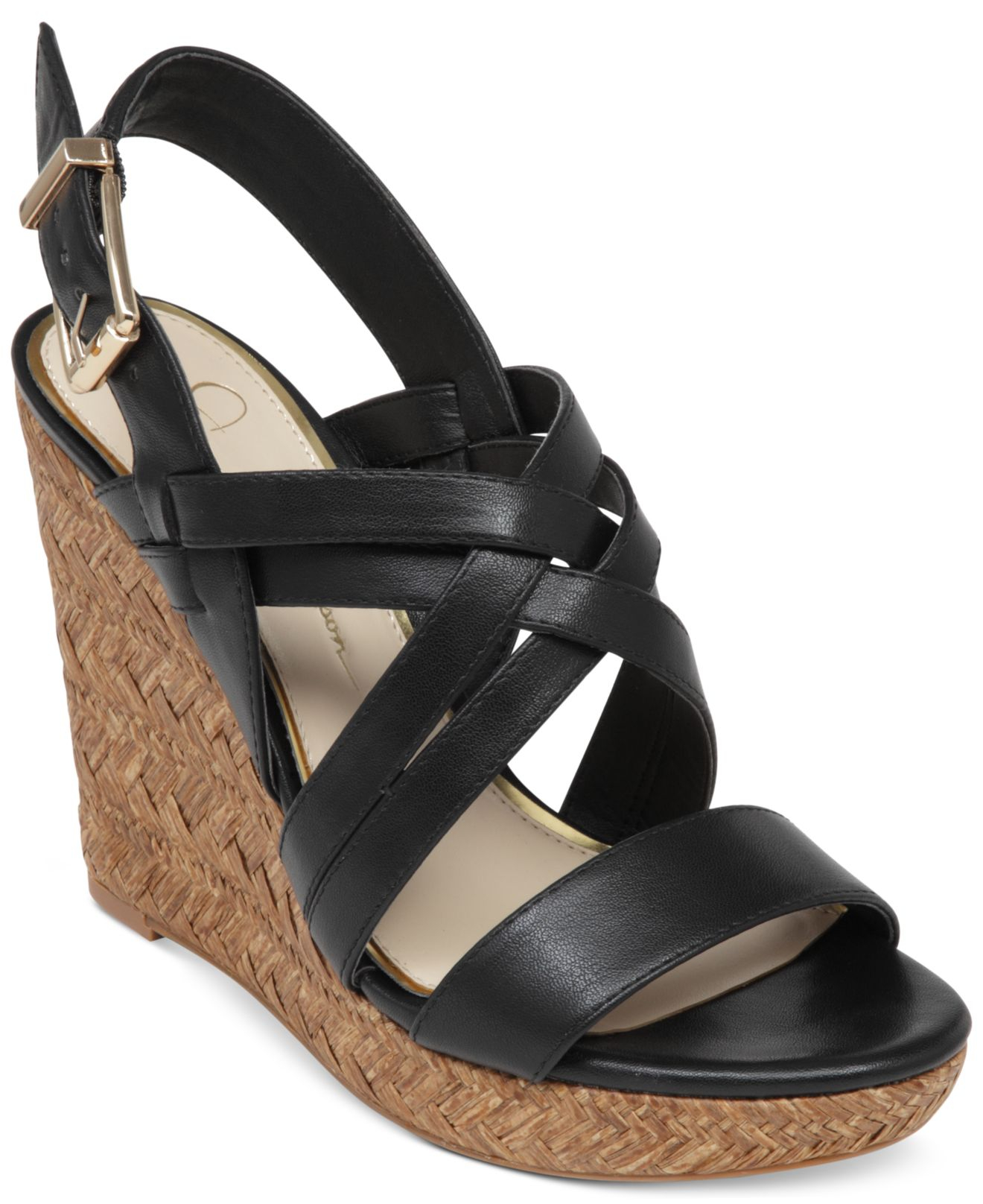 Lyst Jessica Simpson Julita Platform Wedge Sandals In Black
