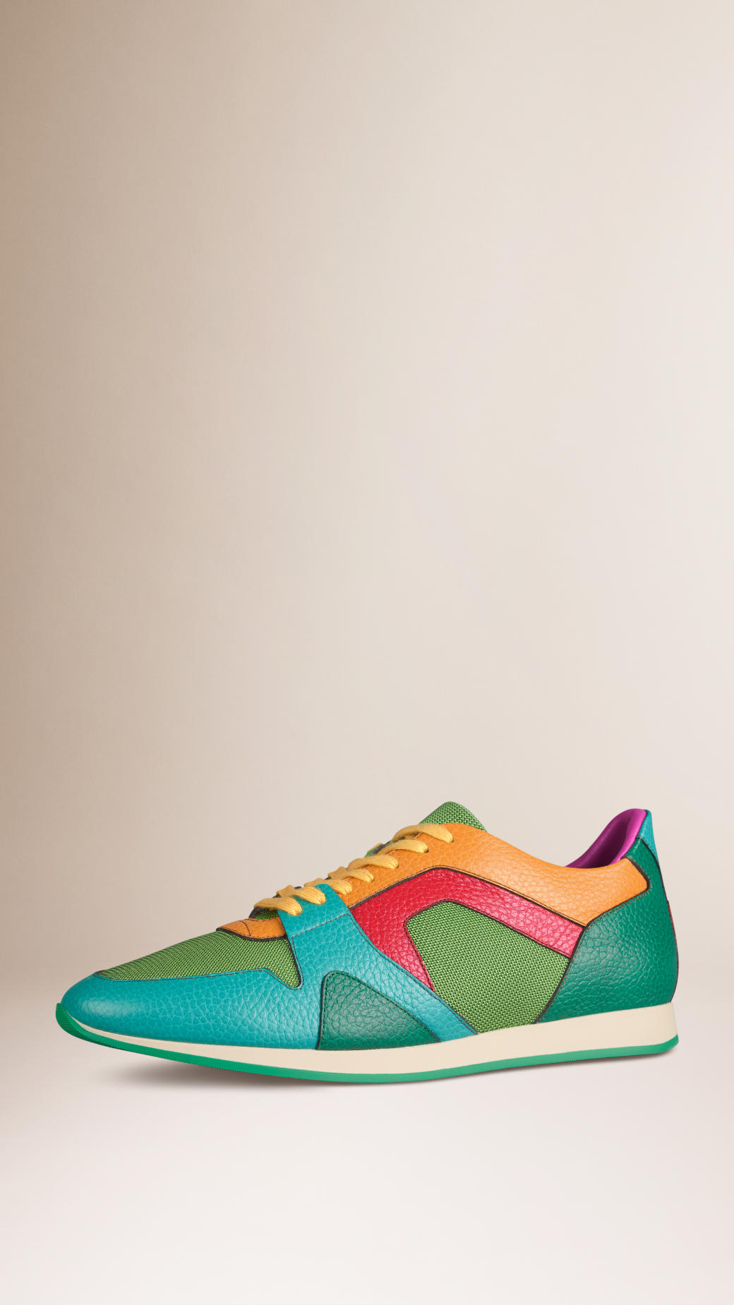 91b03a8bfabae Lyst - Burberry The Field Sneaker In Colour Block Leather And Mesh ...