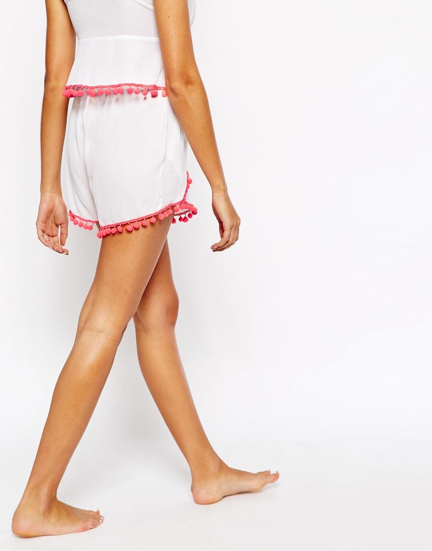 9fded4563d Lipsy Michelle Keegan Pom Pom Beach Shorts Co-ord in White - Lyst