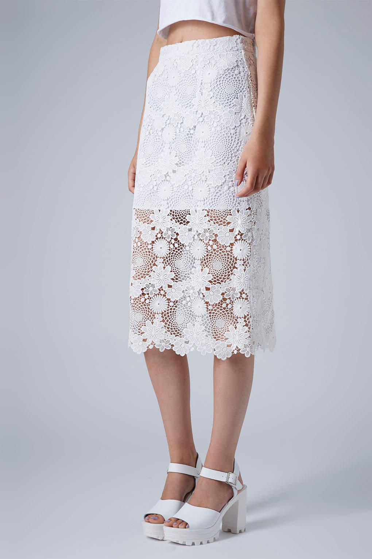 Pencil lace skirt cream
