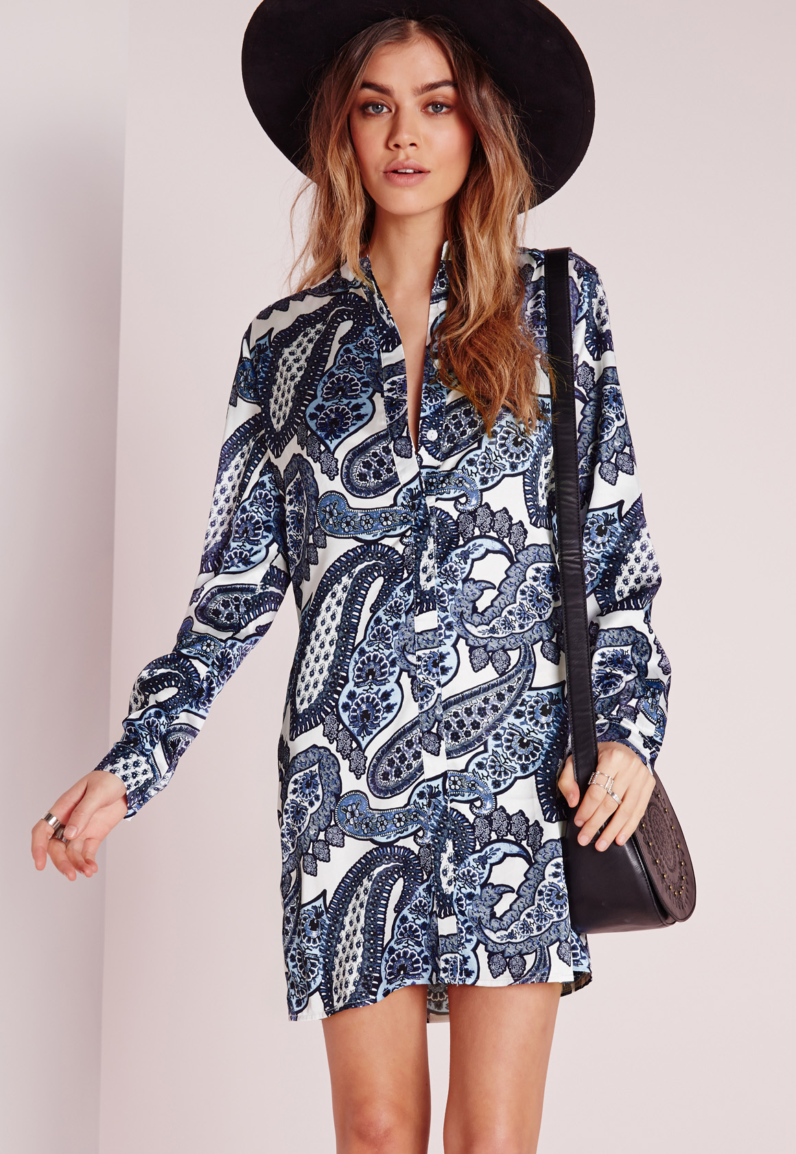 Missguided collarless shirt dress blue white paisley in for Blue white dress shirt