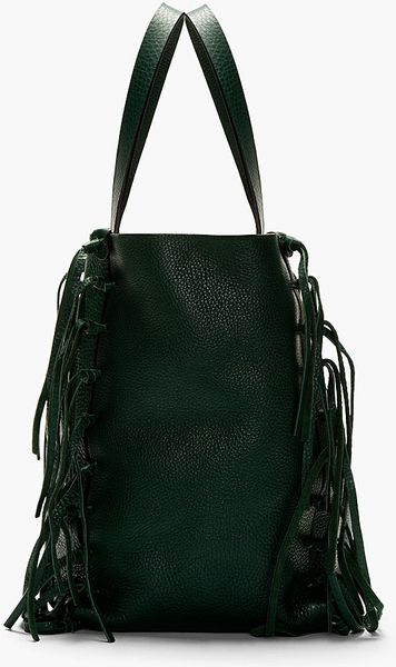 Valentino Emerald Green Leather Fringed Tote Bag in Green ...