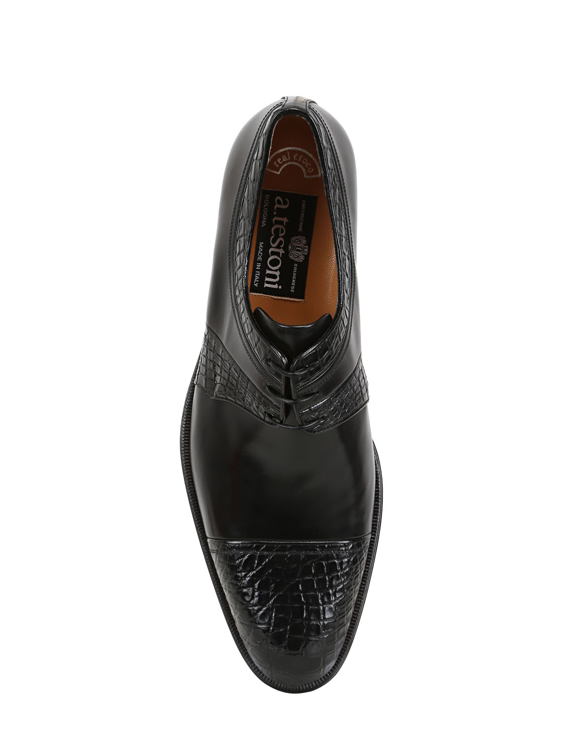 A.Testoni Leather Crocodile Derby Shoes in Black for Men