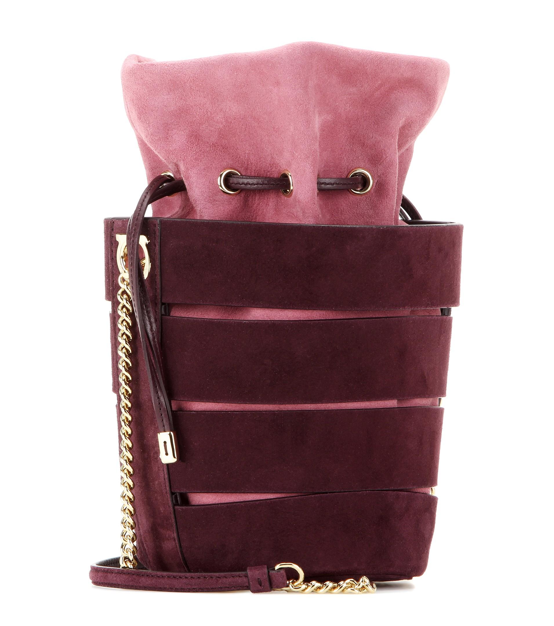 8843ed0d39 Lyst - Ferragamo Mini Bucket Suede Shoulder Bag in Purple