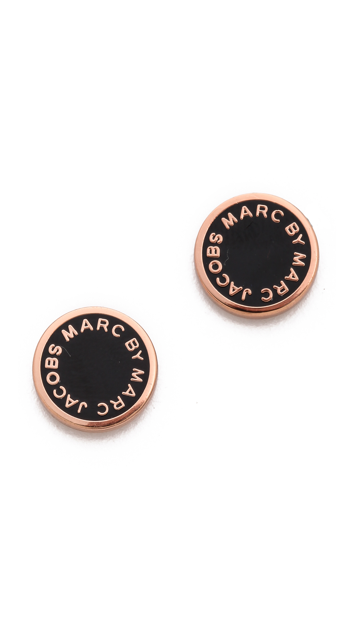 Marc Jacobs Gold and Black Logo Stud Earrings hE6UAoqF