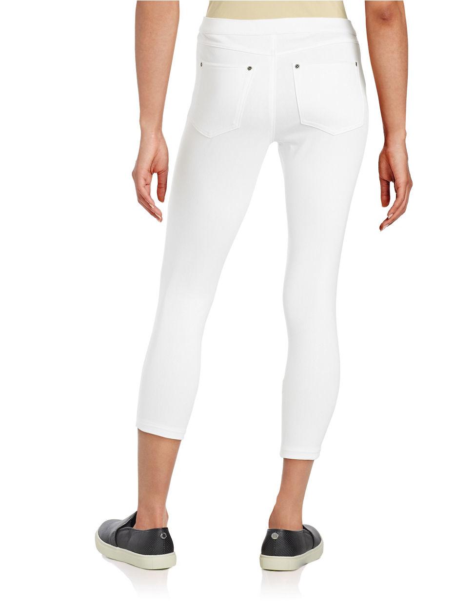 73c68b0e78c6a Hue Super Smooth Denim Capri Leggings in White - Lyst