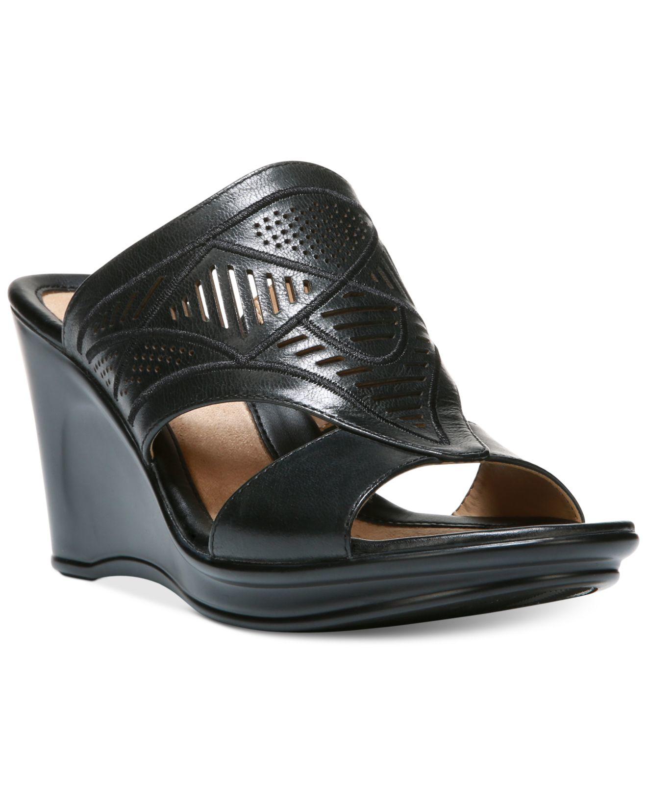 naturalizer oshea open toe wedge sandals in black lyst