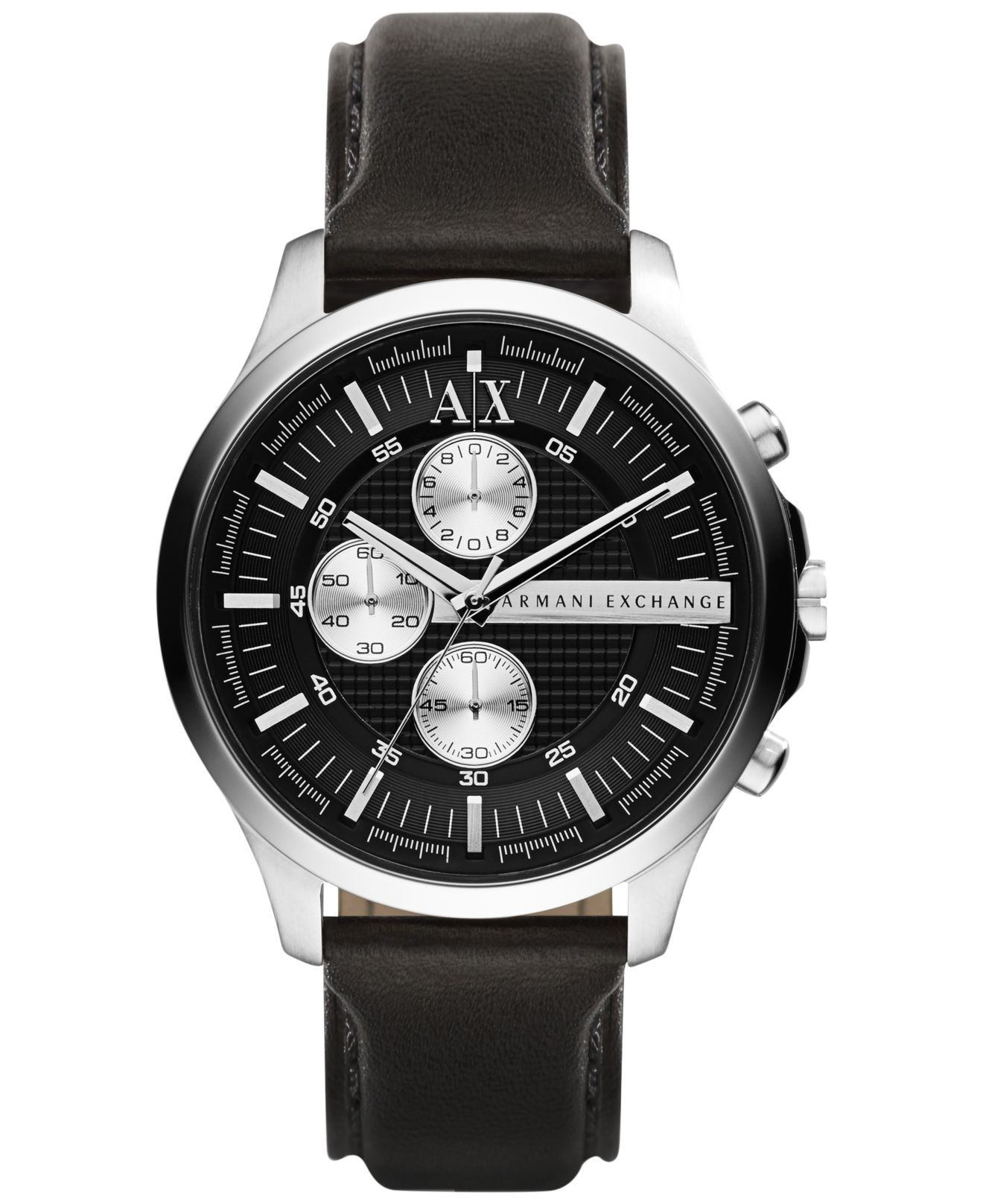 armani exchange s chronograph black leather