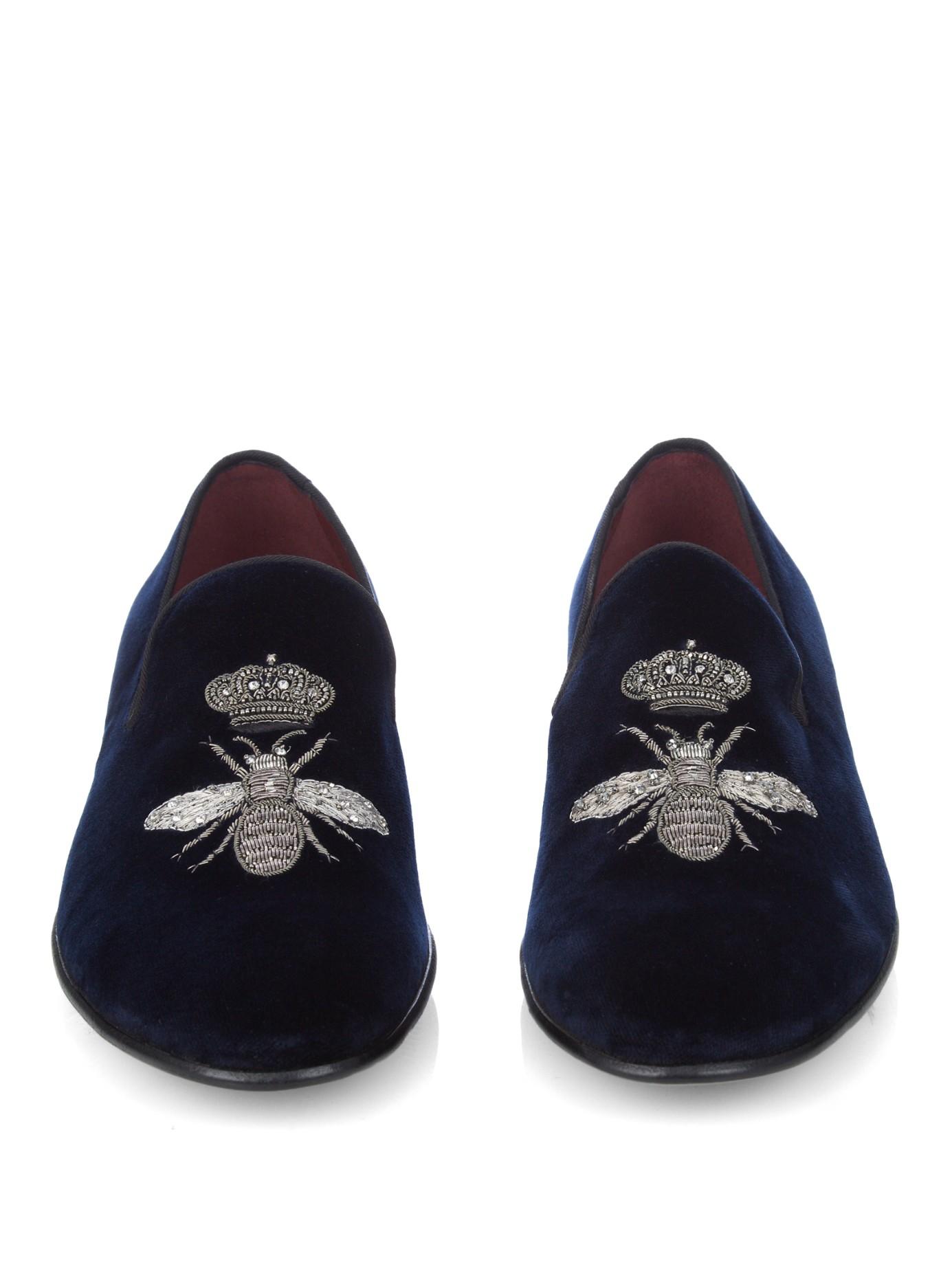 Bee Shoes Velvet Blue