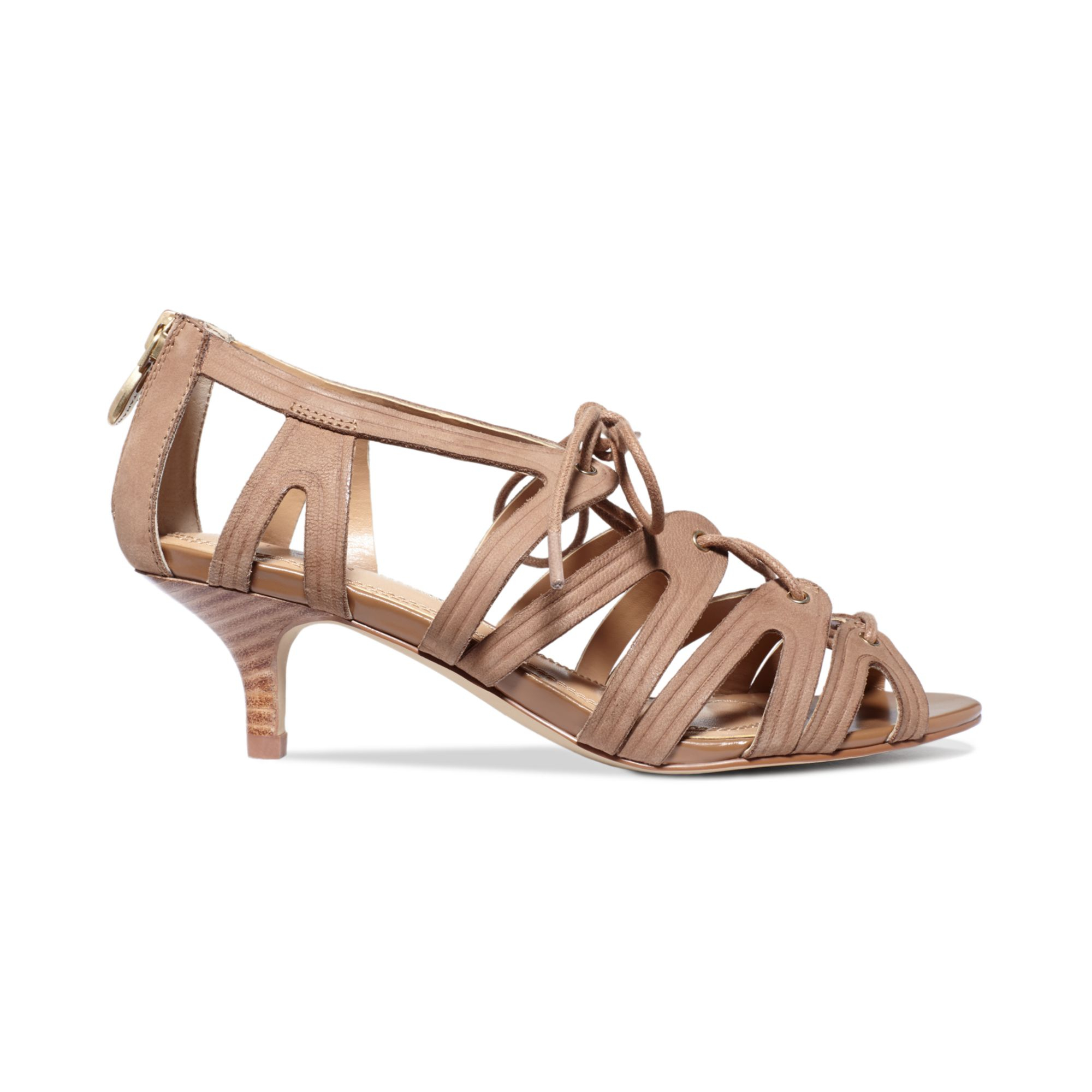 Tahari Womens Darra Kitten Heel Sandals in Natural | Lyst