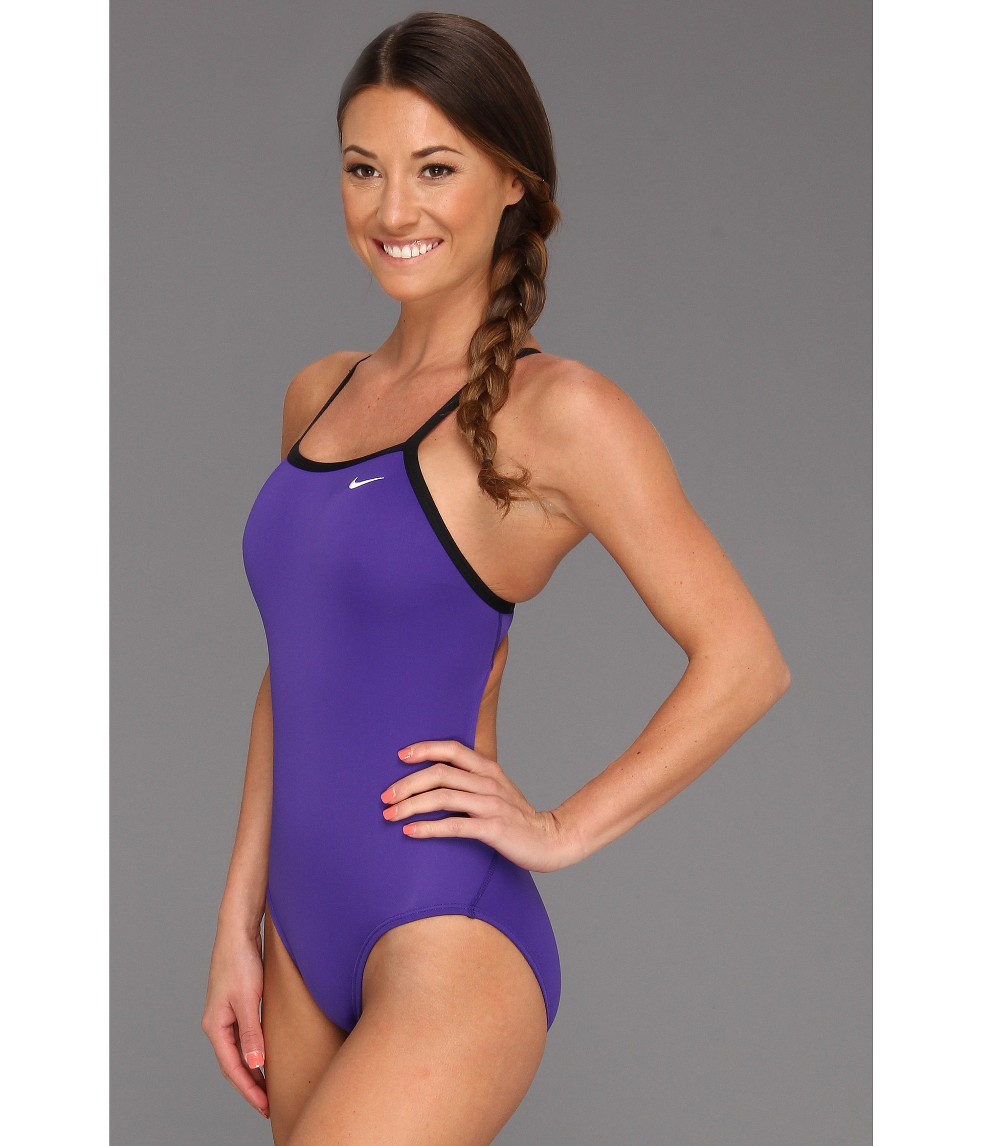 Nike Solid Poly Lingerie Tank One Piece in Purple | Lyst