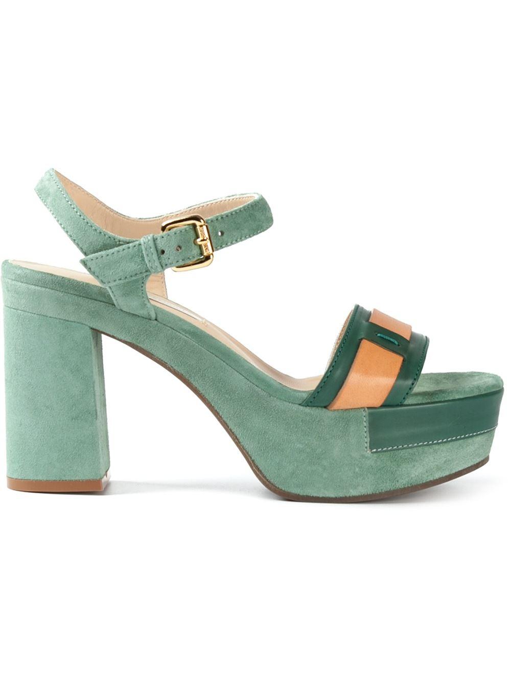 l autre chose platform block heel sandals in green lyst