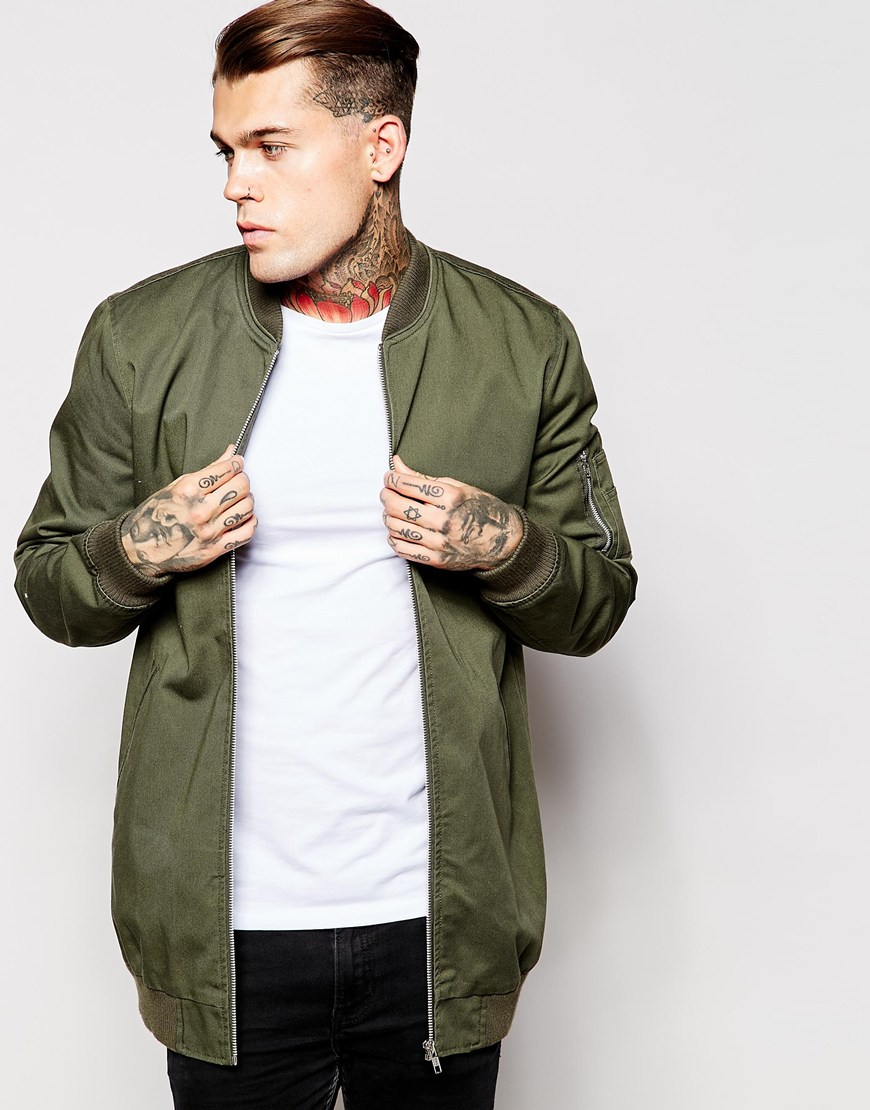 0d631ab205a7e ASOS Bomber Jacket With Ma1 Pocket In Khaki in Green for Men - Lyst