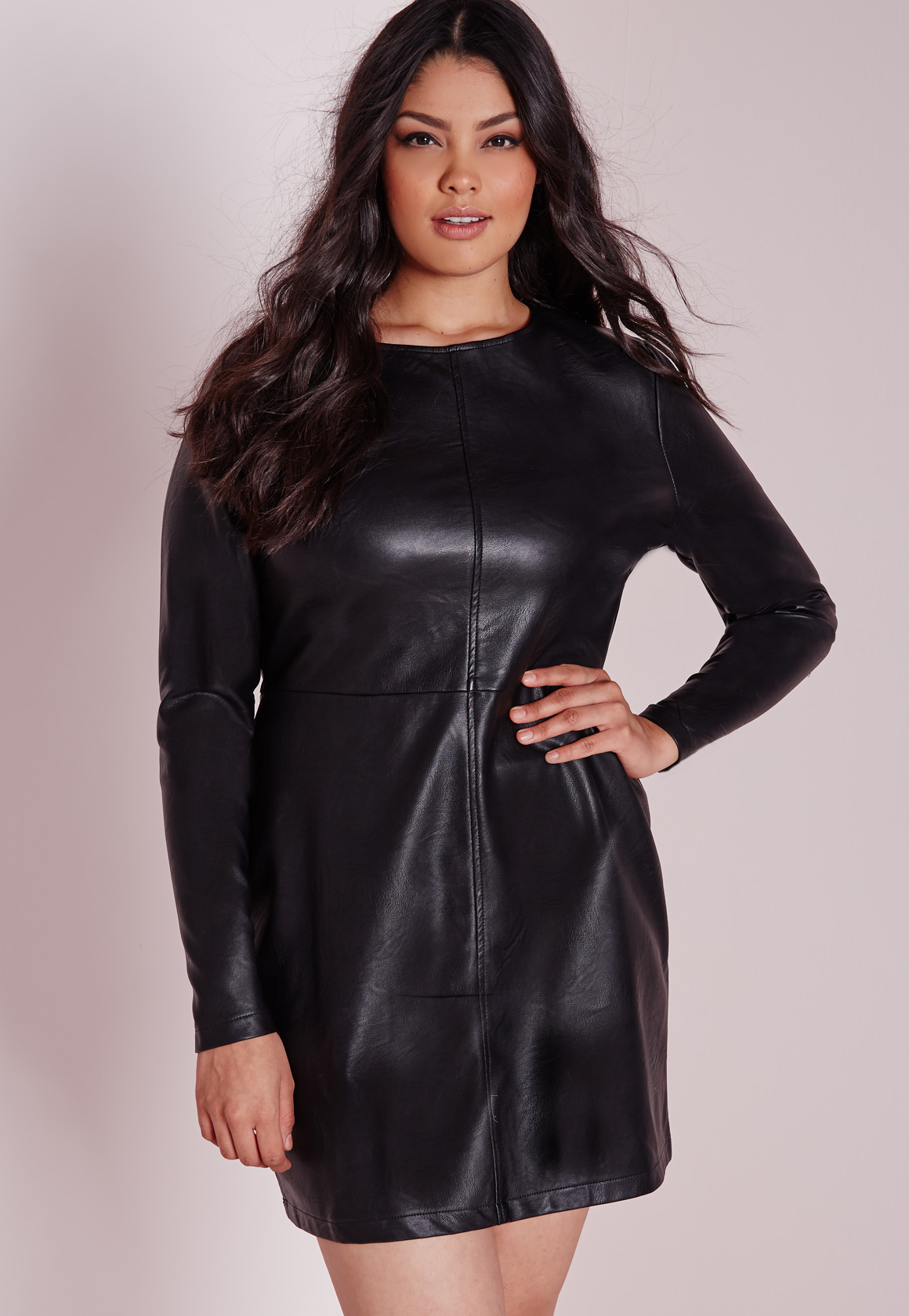 Missguided Plus Size Faux Leather Mini Dress Black In Black | Lyst