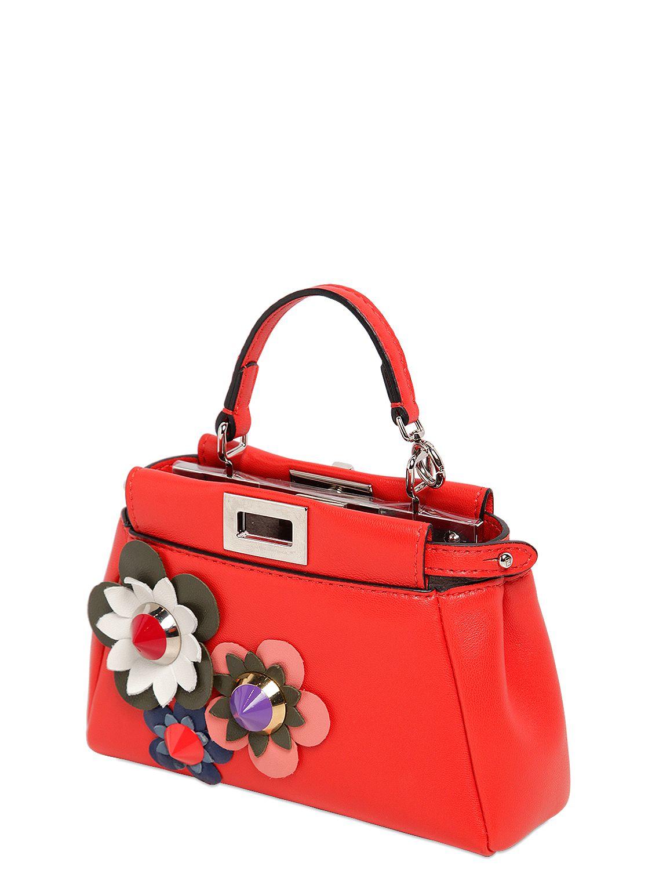 903ae52d77e4 Lyst - Fendi Micro Peekaboo Flower Appliqués Bag in Red