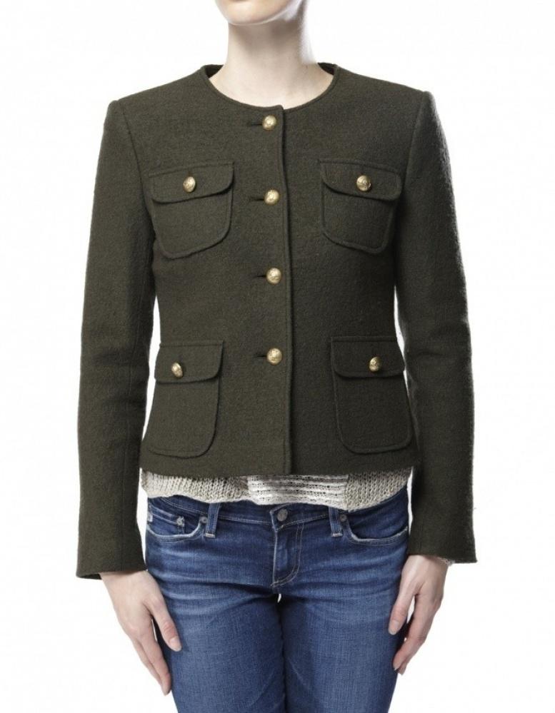 Helene Berman Womens Cropped Military Jacket In Green