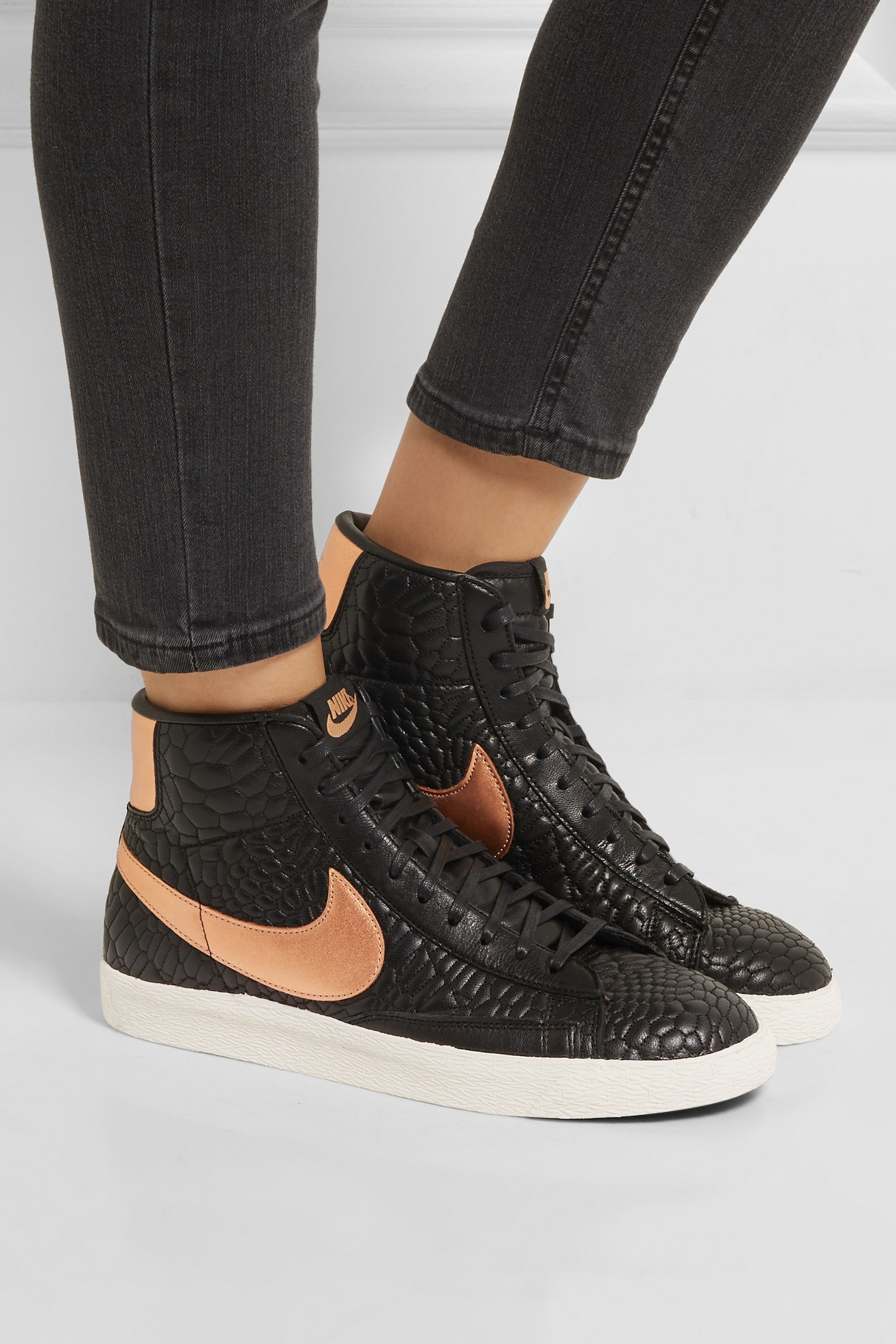 Nike - Blazer Croc-effect Leather High-top Sneakers ...