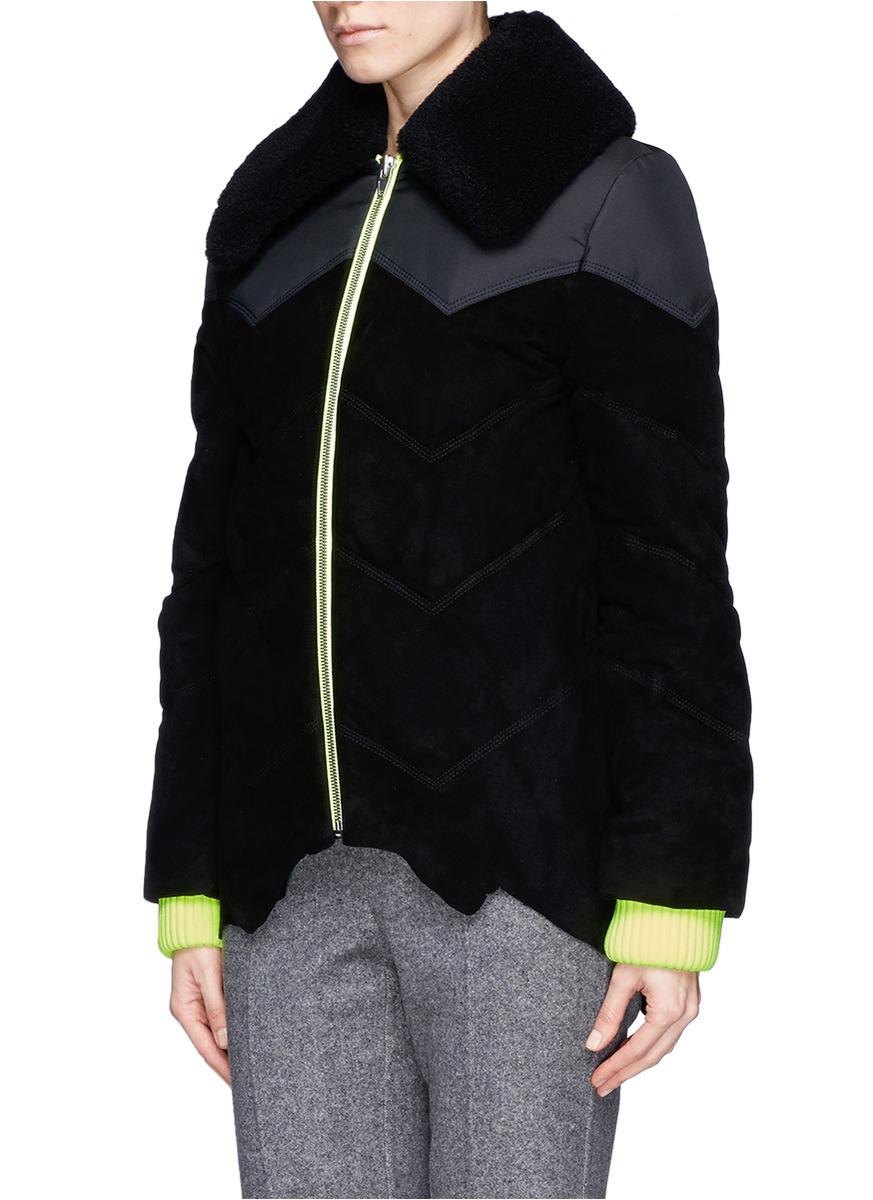 67b6c0ac6 Alexander Wang Black Neon Cuff Suede Puffer Jacket